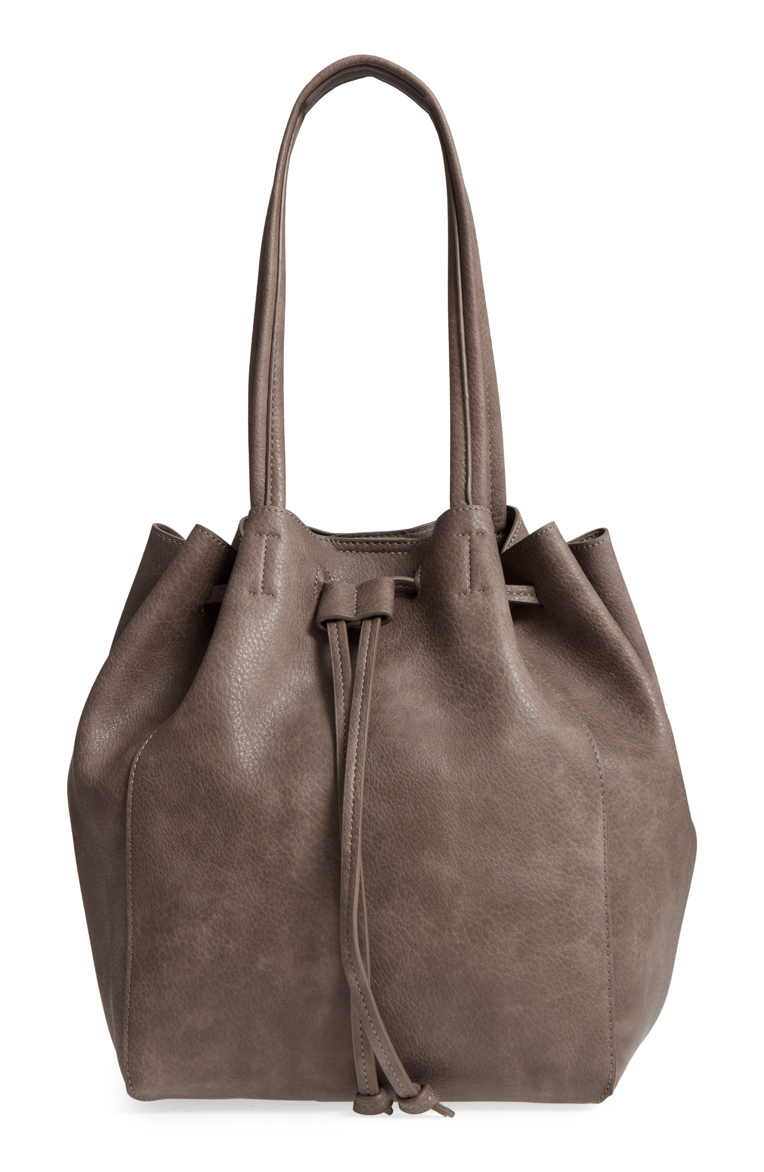 Faux Leather Drawstring Tote,                             Main thumbnail 1, color,                             Light Grey