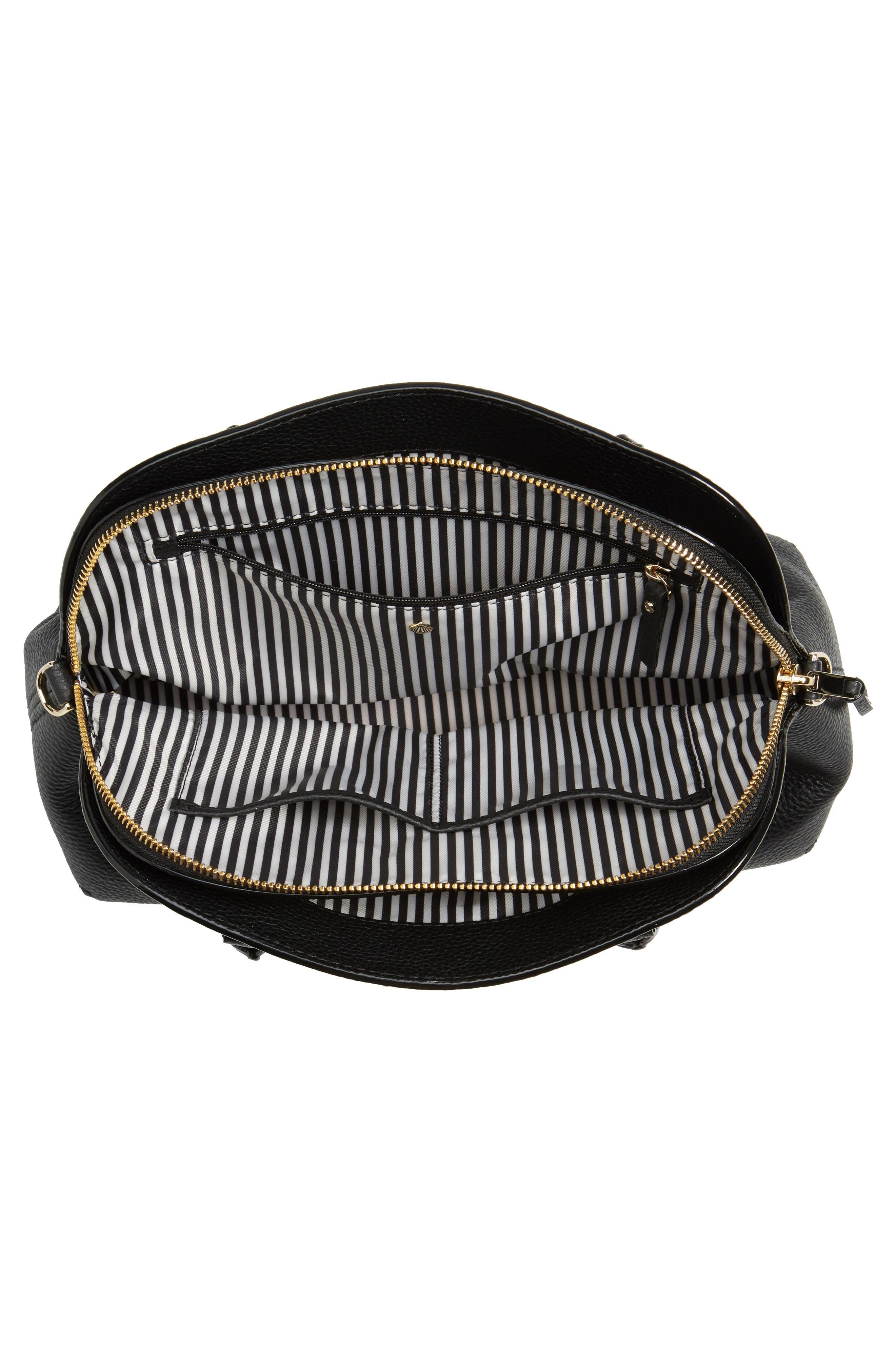 jackson street lottie leather satchel,                             Alternate thumbnail 3, color,                             Black