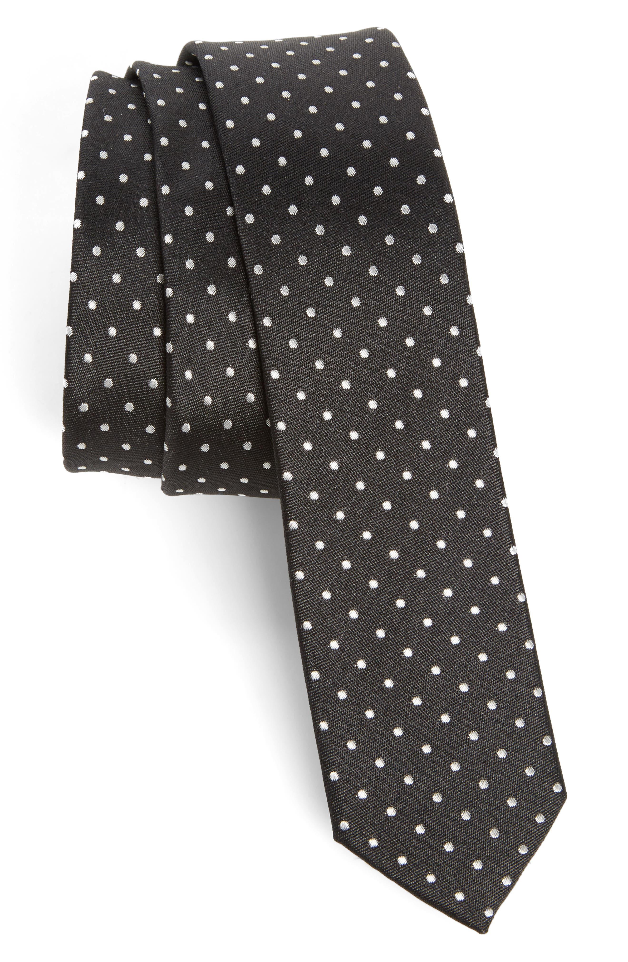 Dot Skinny Silk Tie,                         Main,                         color, Black