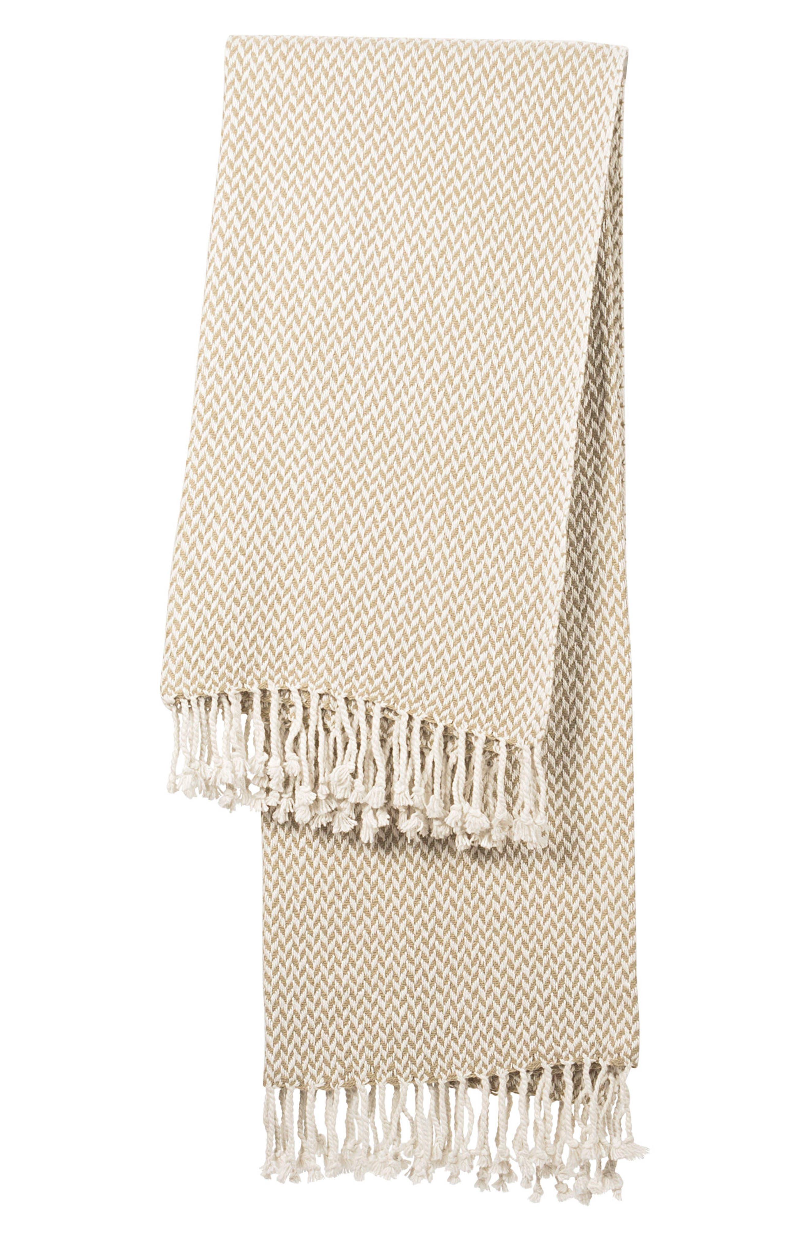 Monogram Herringbone Throw Blanket,                         Main,                         color, Taupe