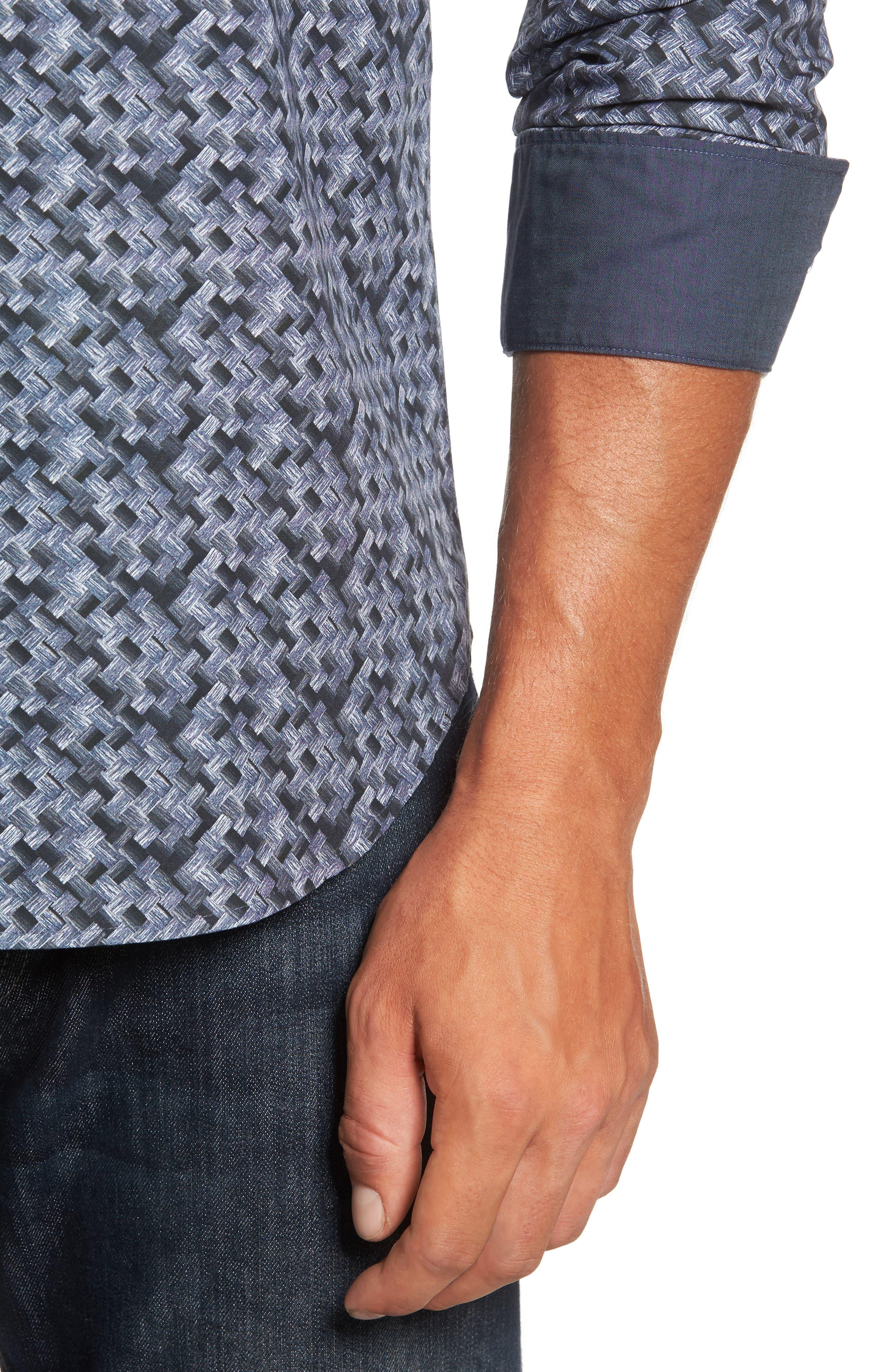 Shaped Fit Print Sport Shirt,                             Alternate thumbnail 4, color,                             Steel