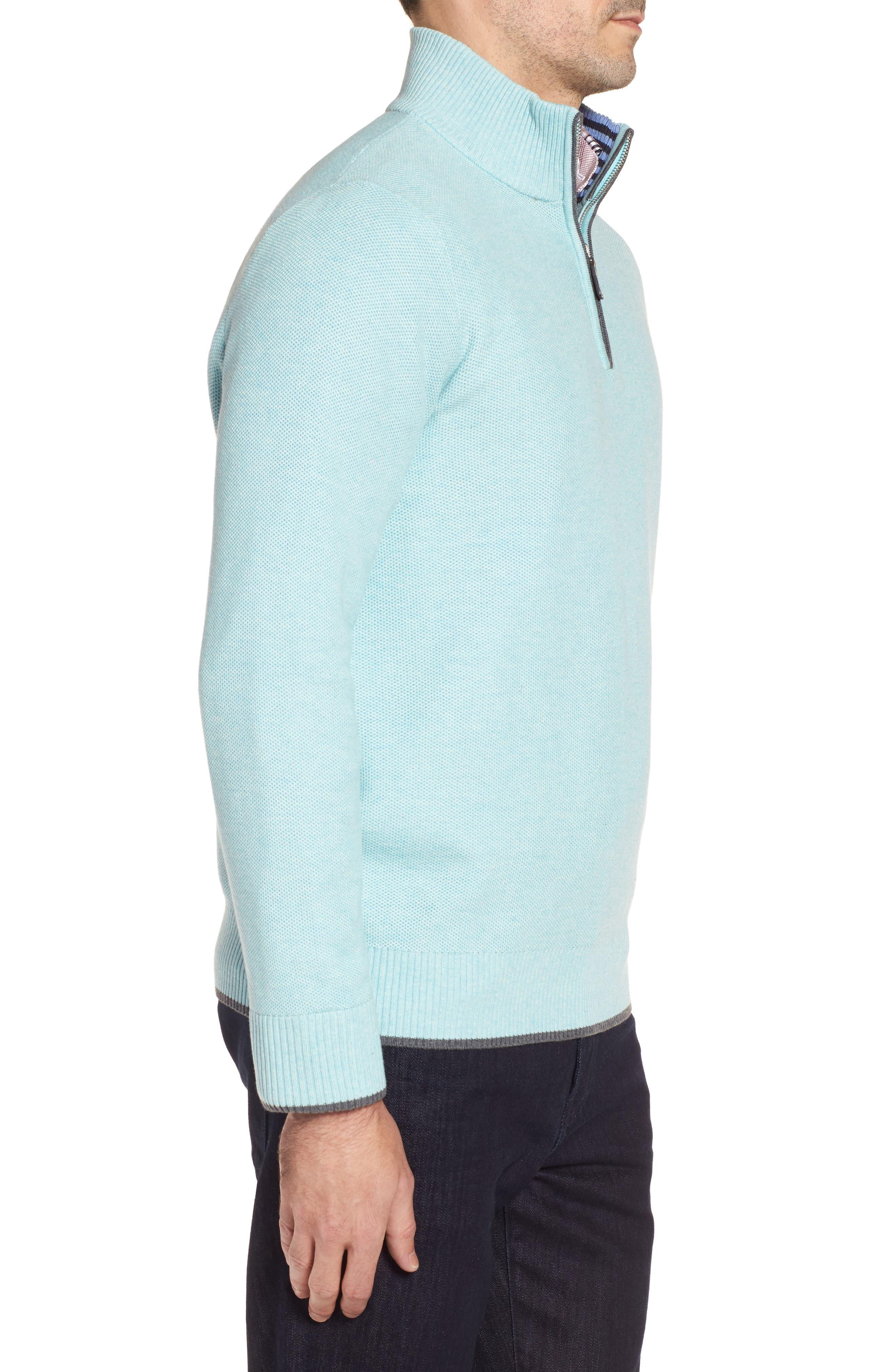Starks Tipped Quarter Zip Sweater,                             Alternate thumbnail 3, color,                             Aqua