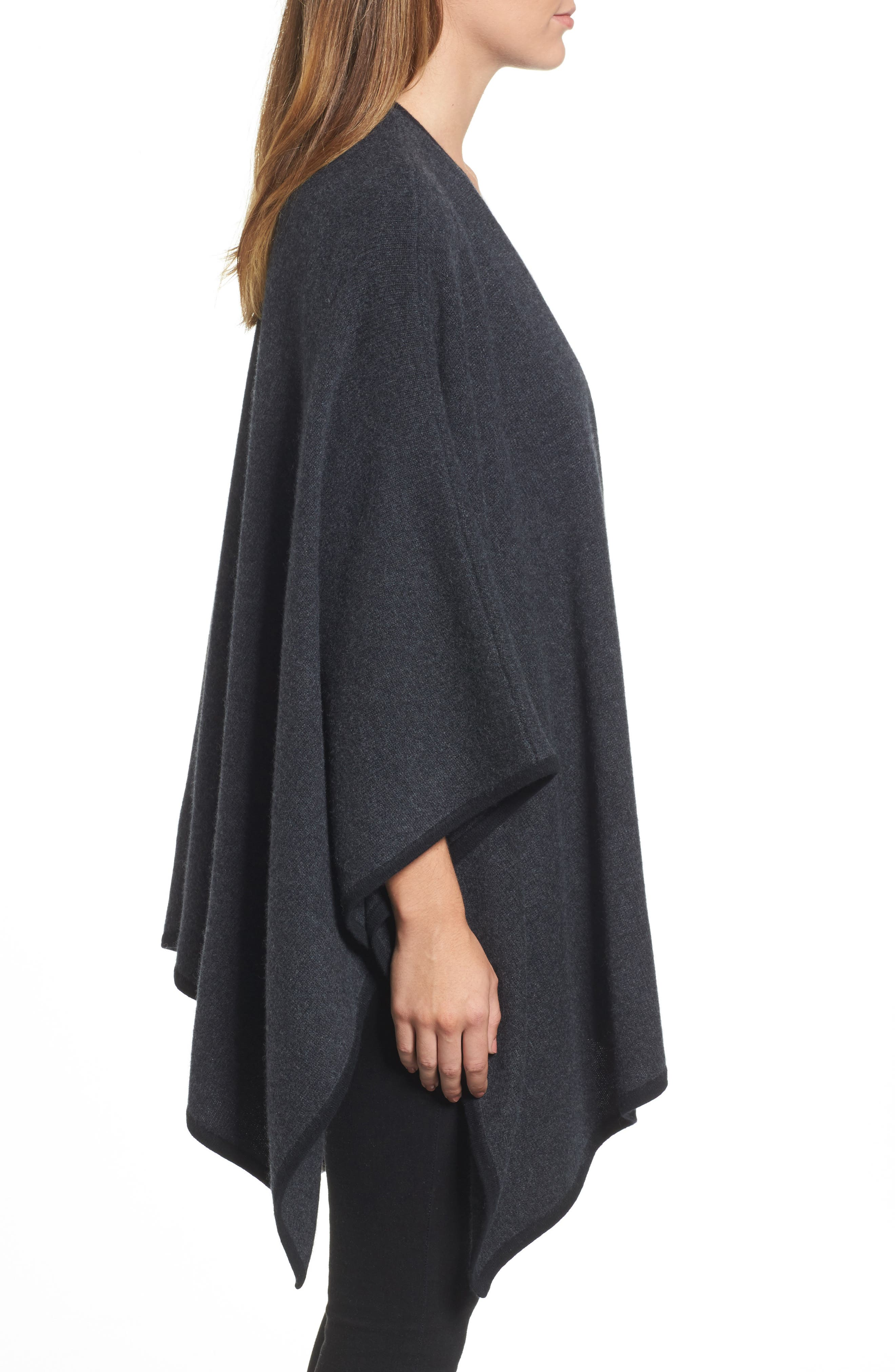 Cashmere Cape,                             Alternate thumbnail 3, color,                             Grey Dark Charcoal Heather
