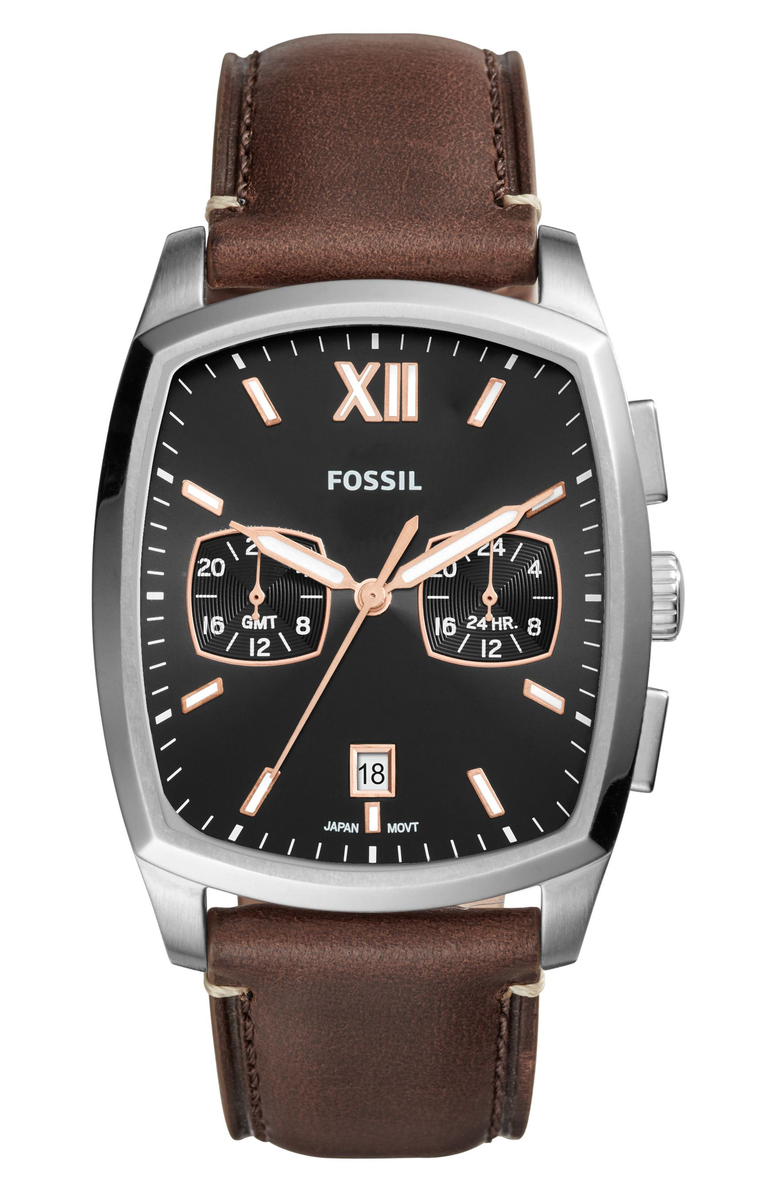 Knox Dual Time Leather Strap Watch, 38mm x 32mm,                         Main,                         color, Brown/ Black/ Silver