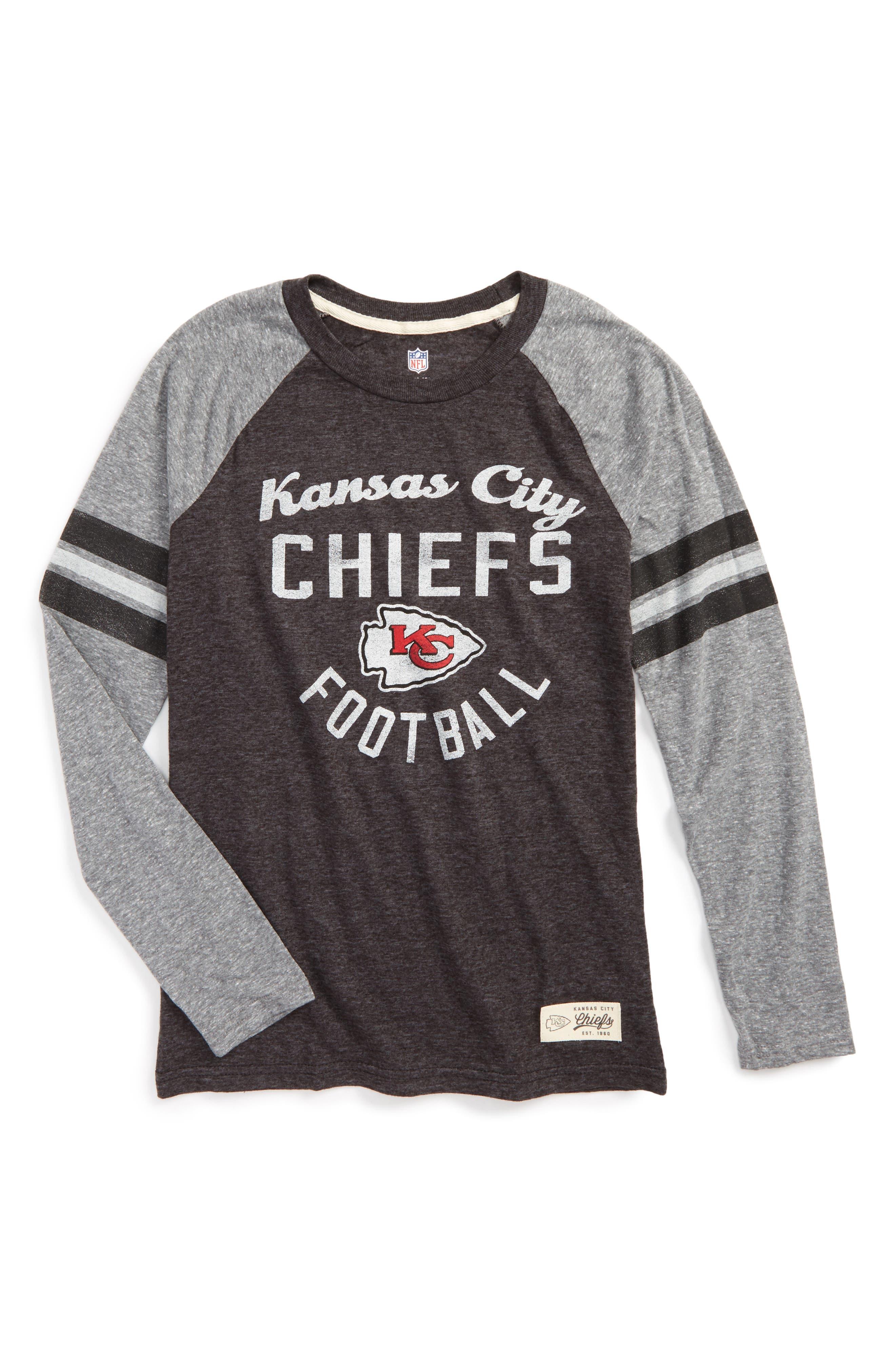 NFL Kansas City Chiefs Distressed Logo T-Shirt,                         Main,                         color, Black