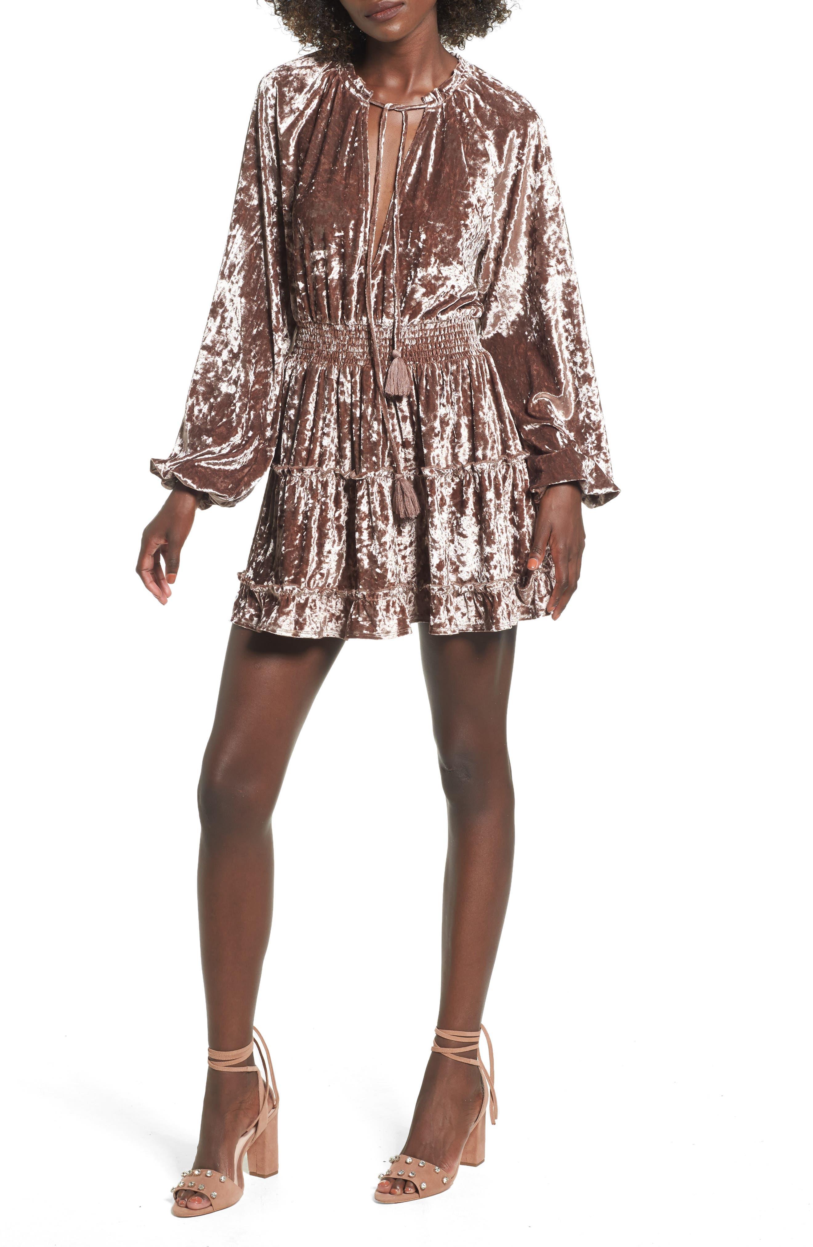 Tularosa Delaney Crushed Velvet Minidress