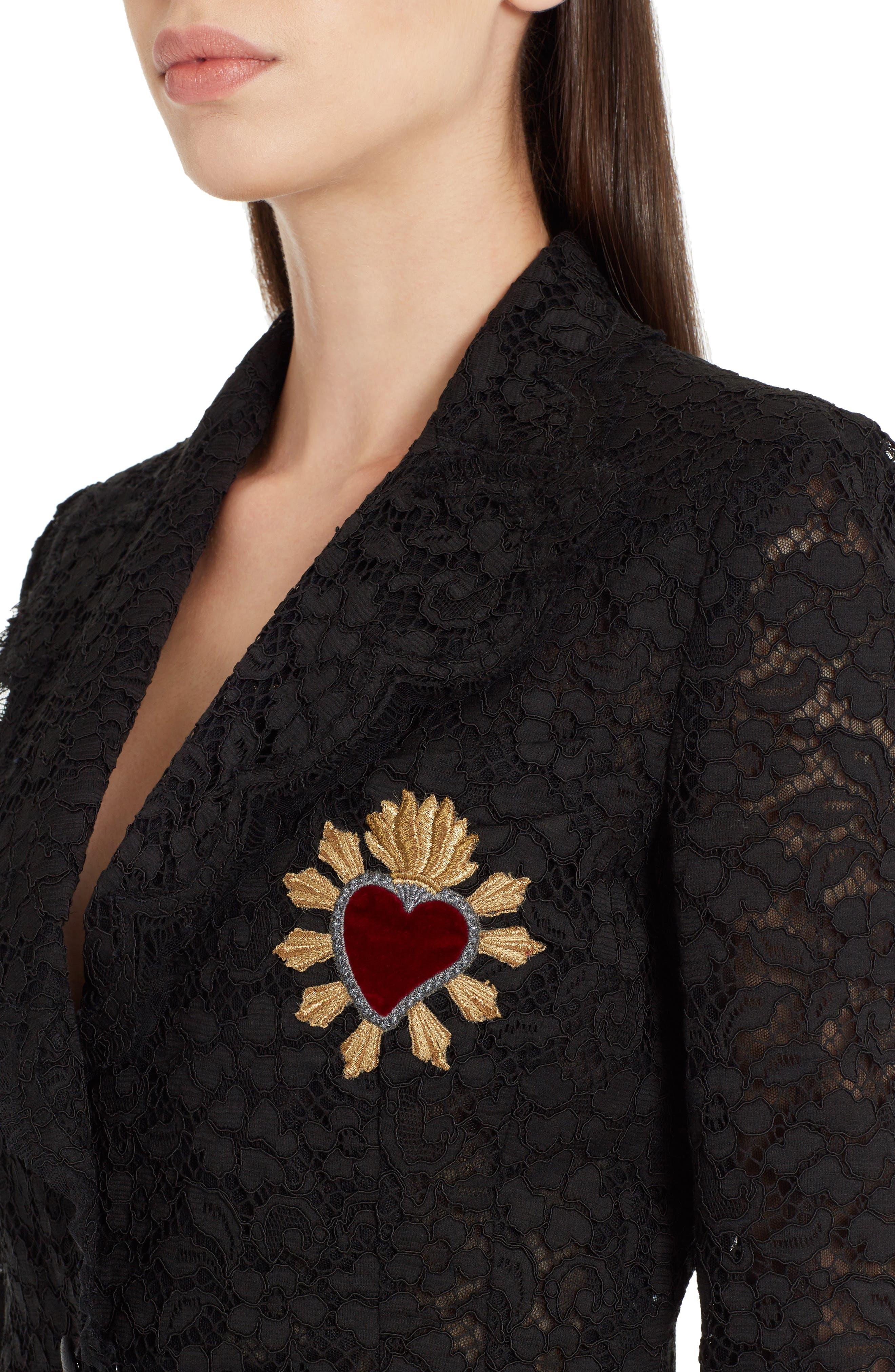 Heart Patch Lace Blazer,                             Alternate thumbnail 4, color,                             Black