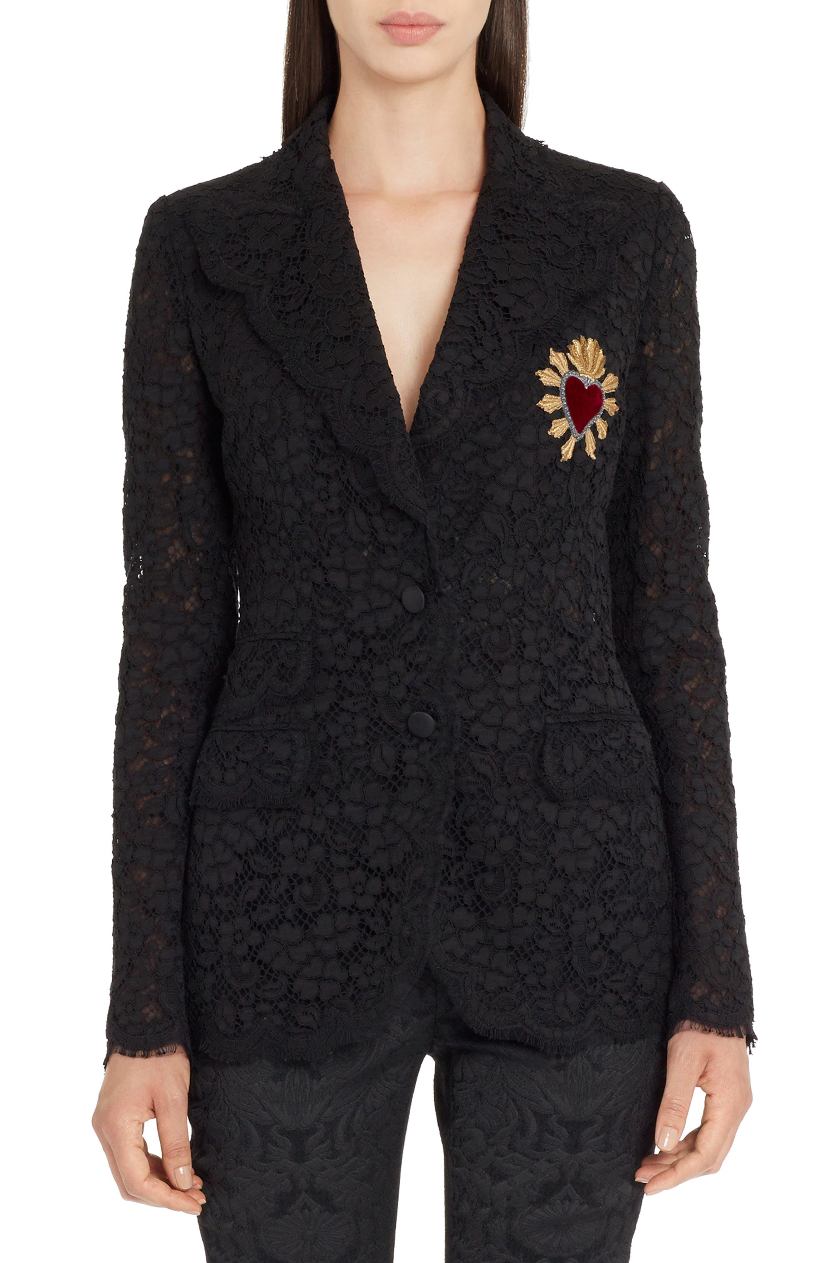 Heart Patch Lace Blazer,                         Main,                         color, Black