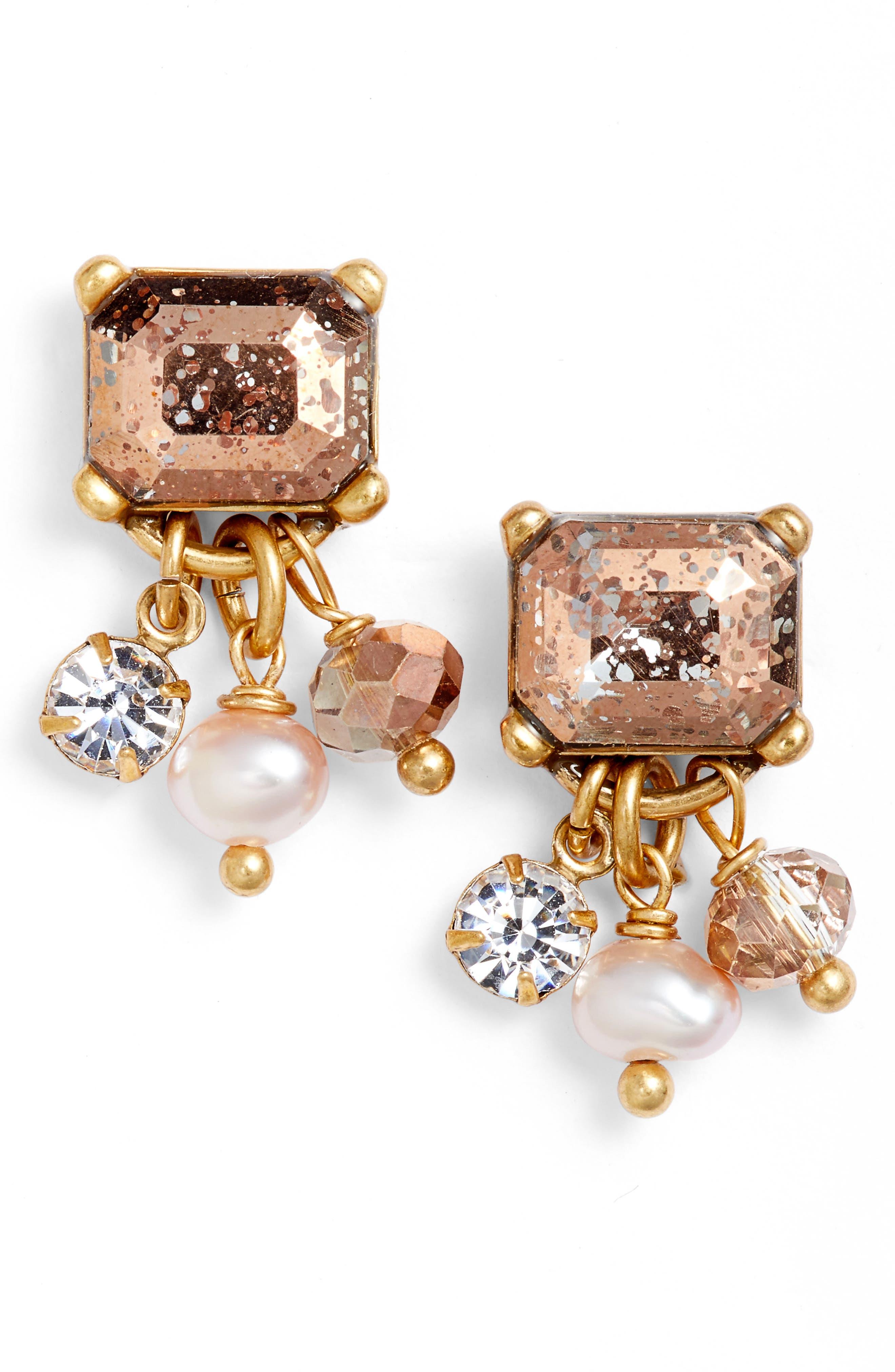 Pearl Drop Earrings,                         Main,                         color, Gold