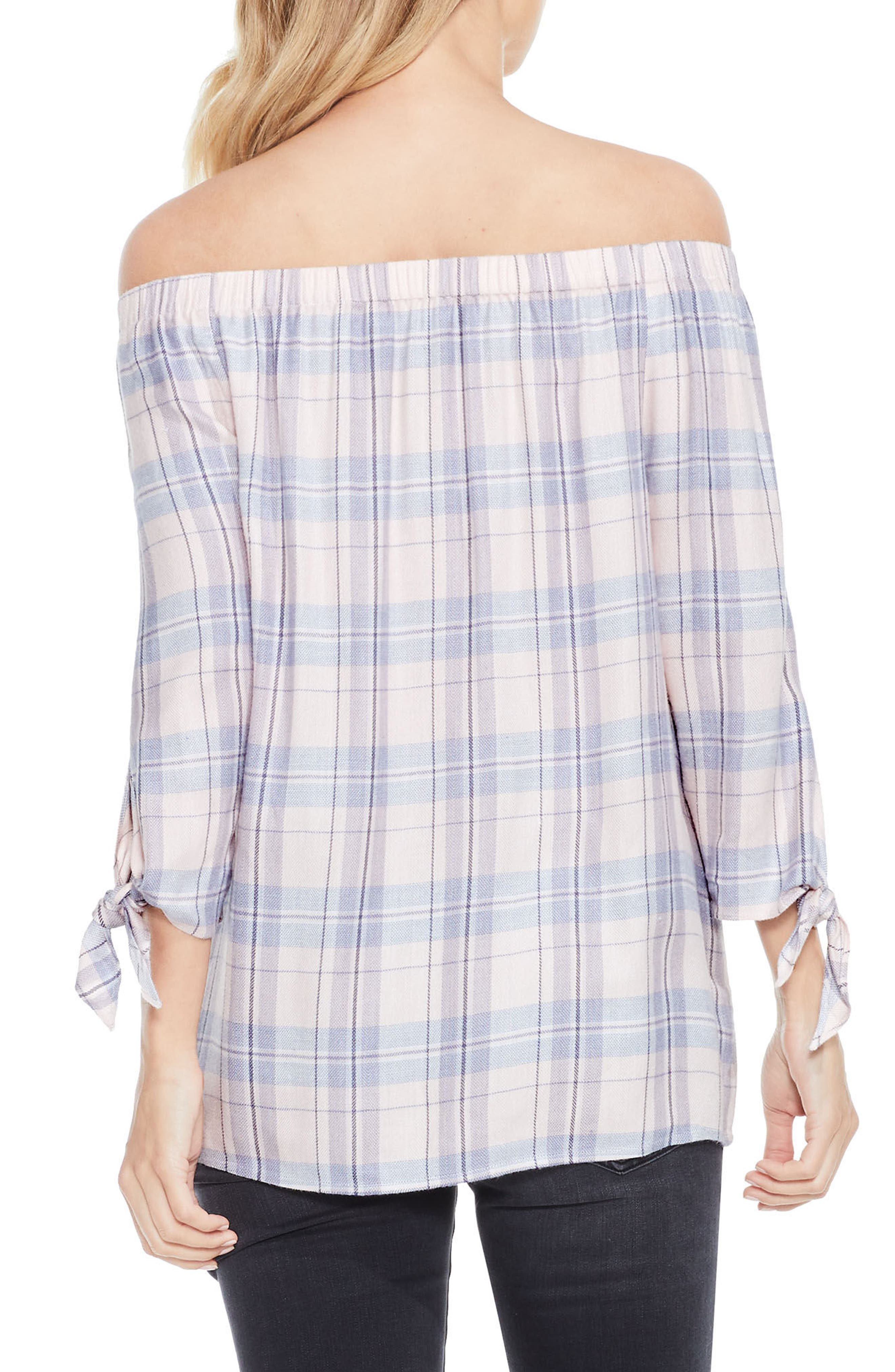 Off the Shoulder Plaid Top,                             Alternate thumbnail 3, color,                             New Ivory