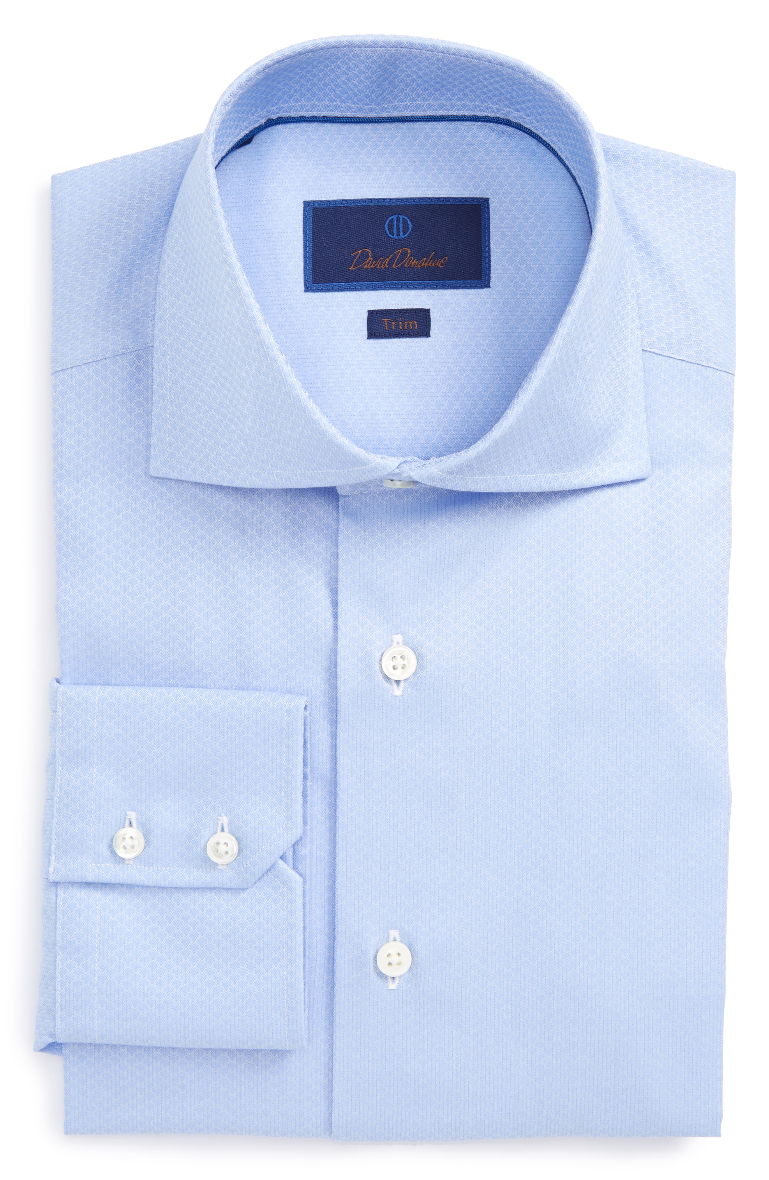 David Donahue Trim Fit Herringbone Weave Dress Shirt