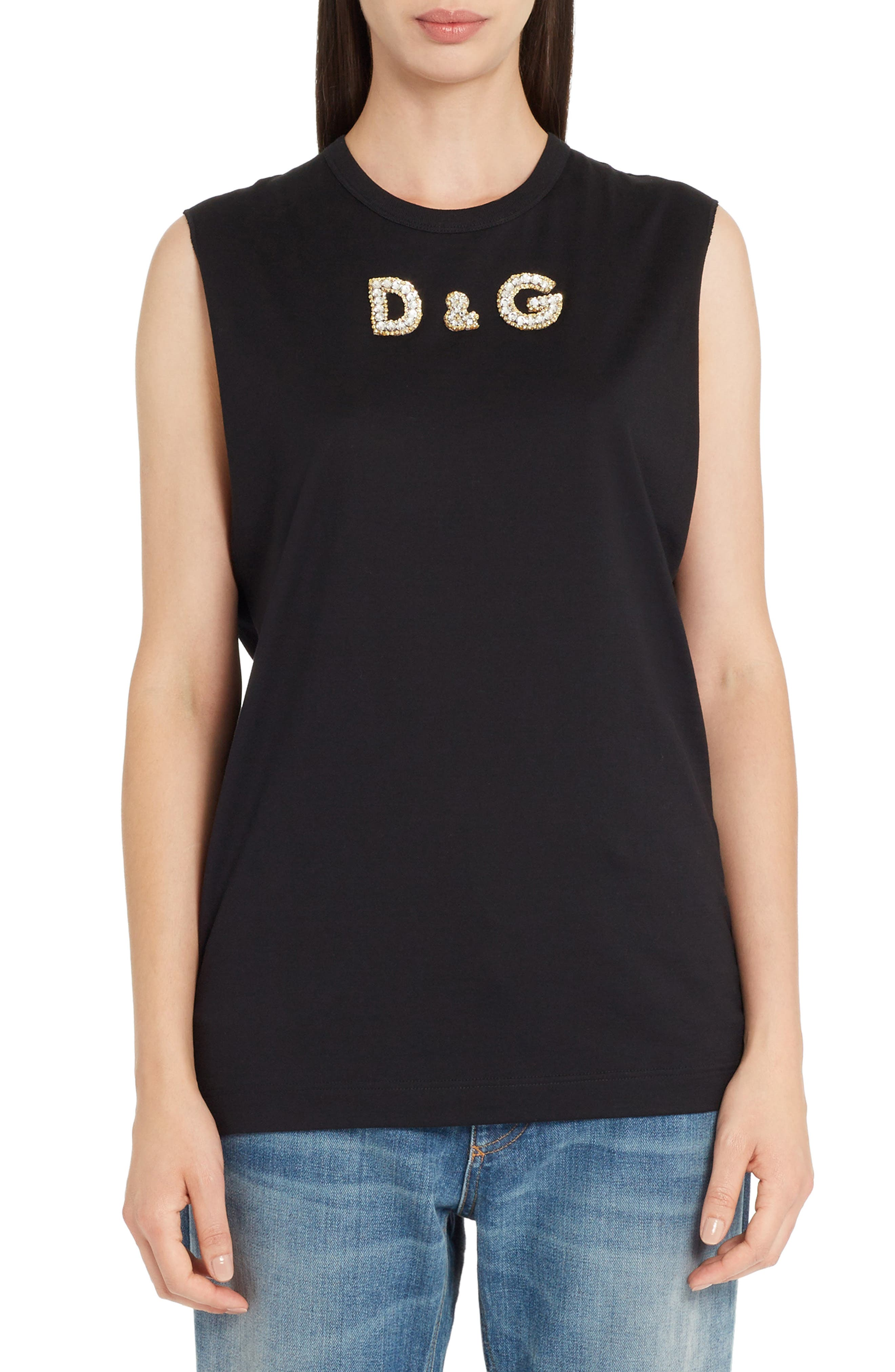 Sequin Logo Muscle Tee,                         Main,                         color, Black