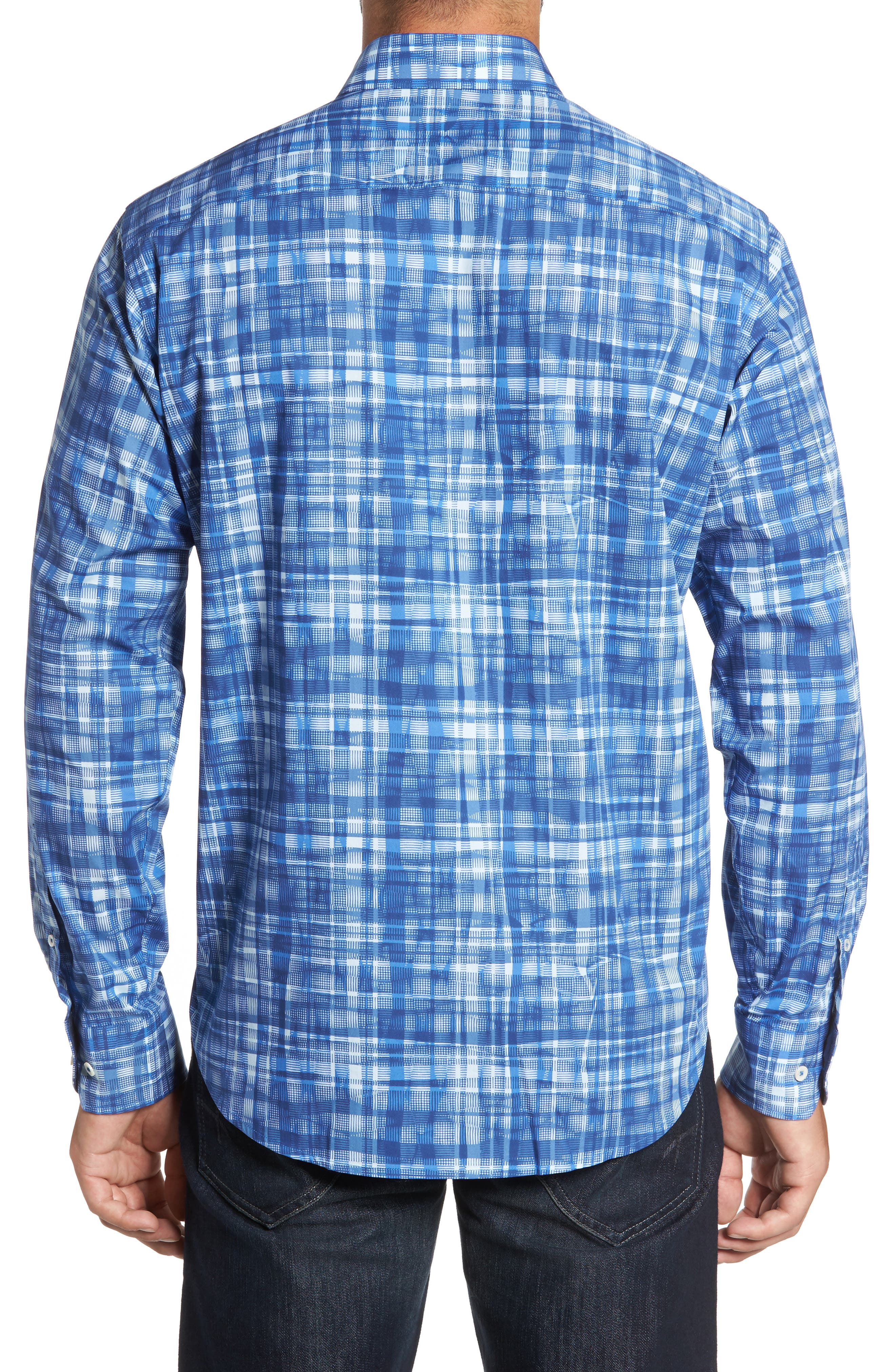 Classic Fit Abstract Plaid Sport Shirt,                             Alternate thumbnail 2, color,                             Classic Blue