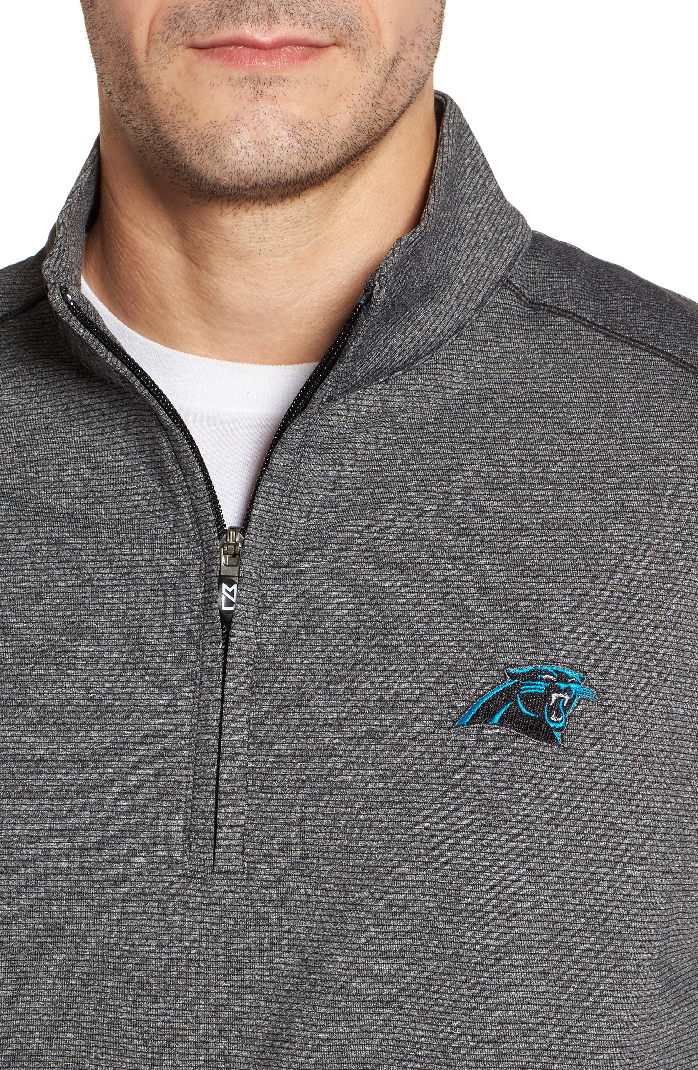 Shoreline - Carolina Panthers Half Zip Pullover,                             Alternate thumbnail 4, color,                             Charcoal Heather