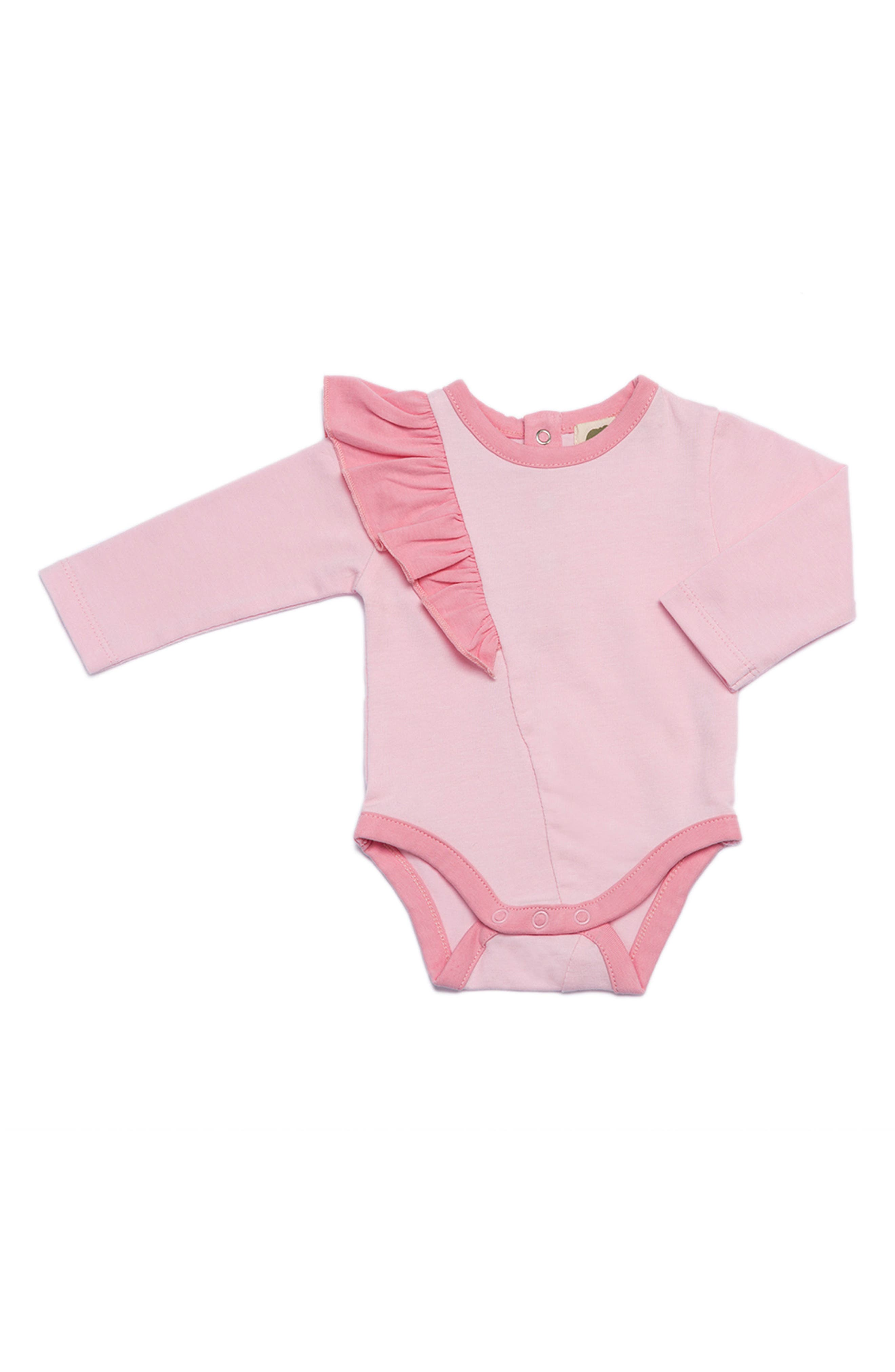 Ruffle Organic Cotton Bodysuit,                             Main thumbnail 1, color,                             Baby Pink