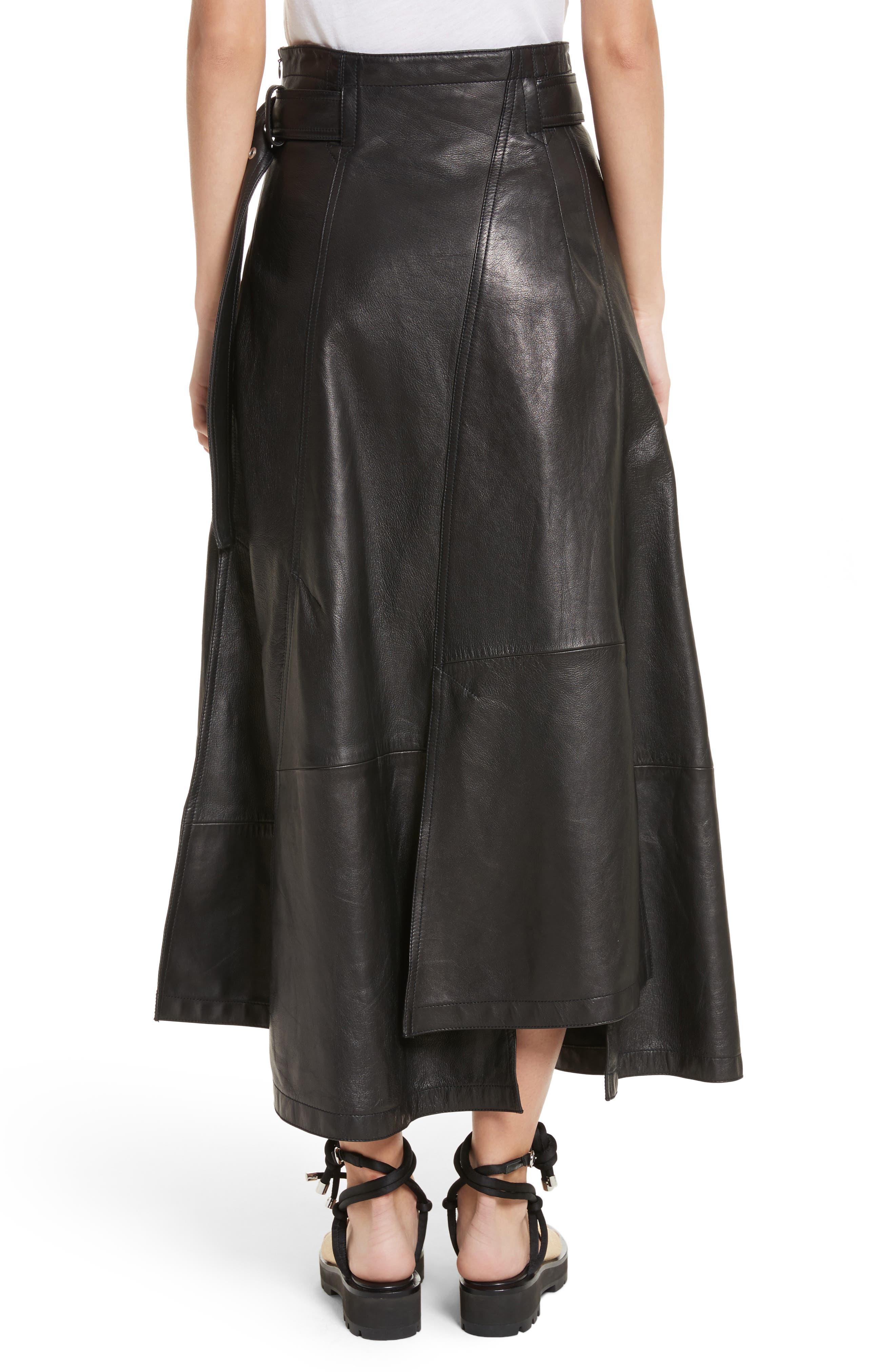 Leather Utility Skirt,                             Alternate thumbnail 2, color,                             Black