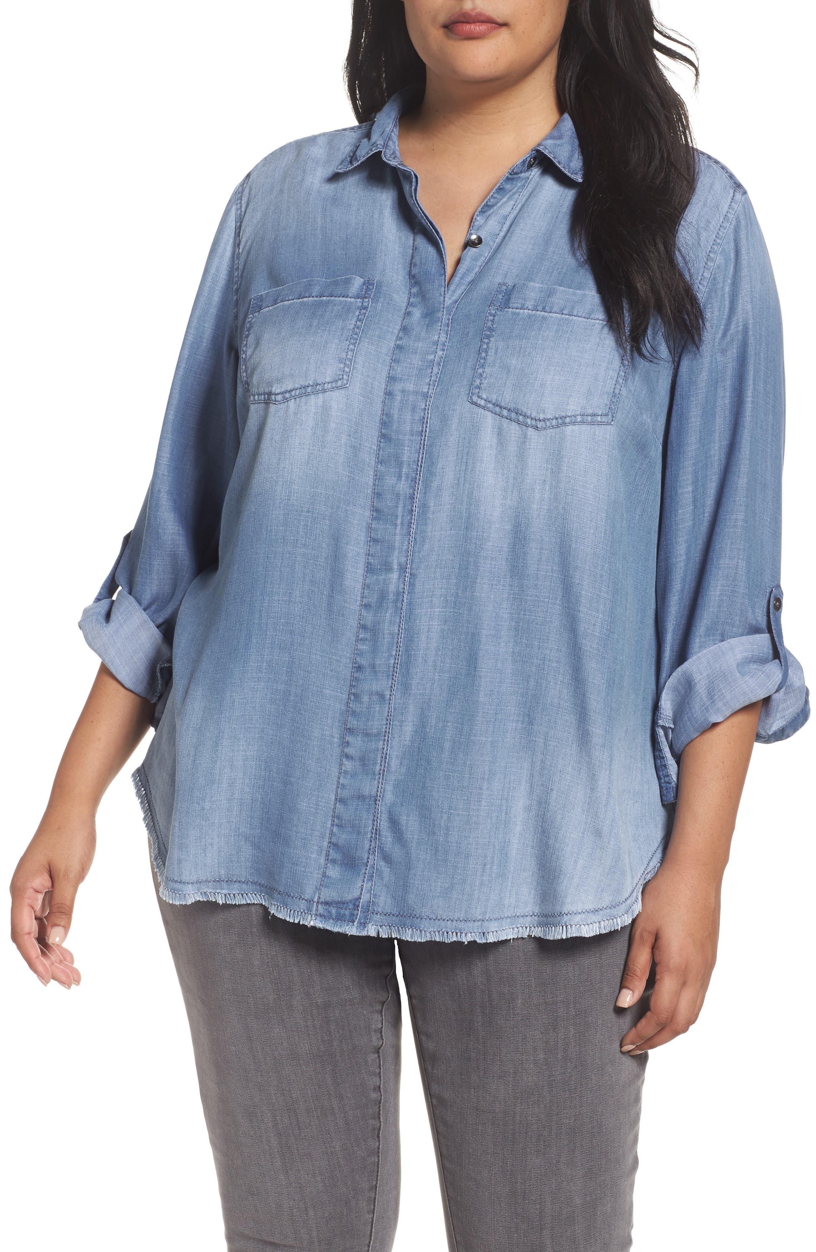 Caslon® Boyfriend Shirt (Plus Size)