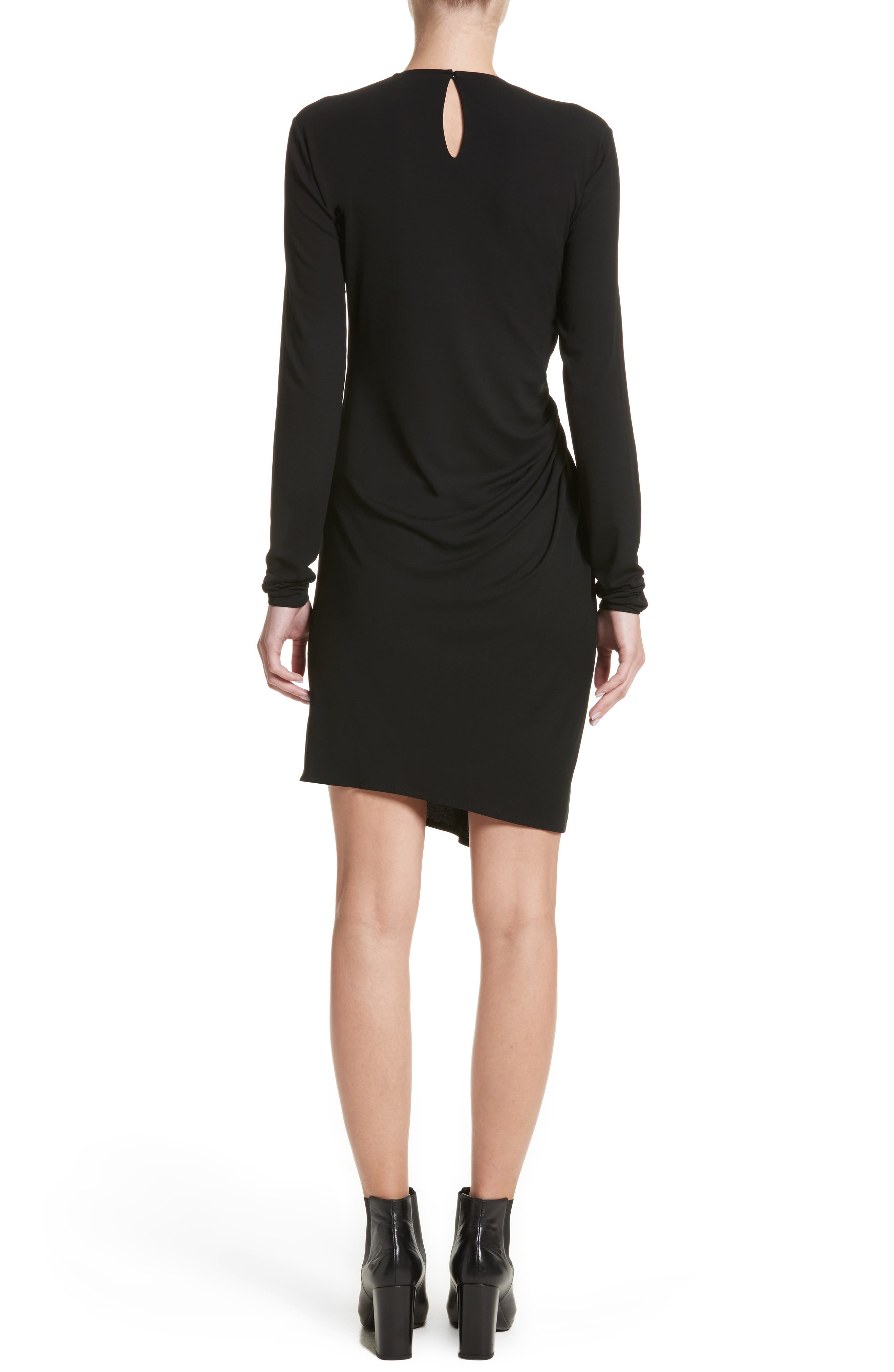 Ruched Side Drape Jersey Dress,                             Alternate thumbnail 2, color,                             Black