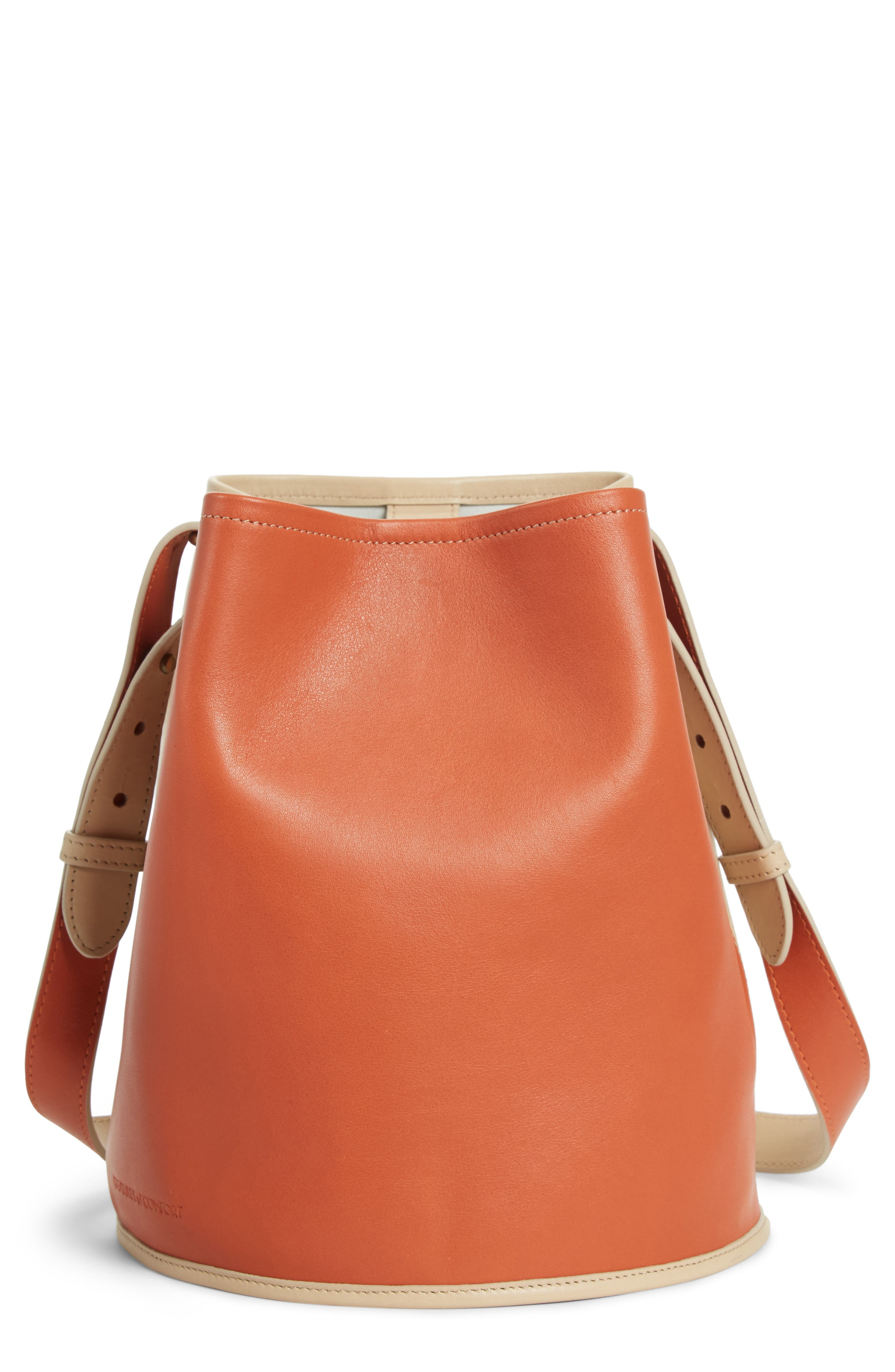 Small Bucket Bicolor Leather Bag,                         Main,                         color, Clove/ Cappuccino
