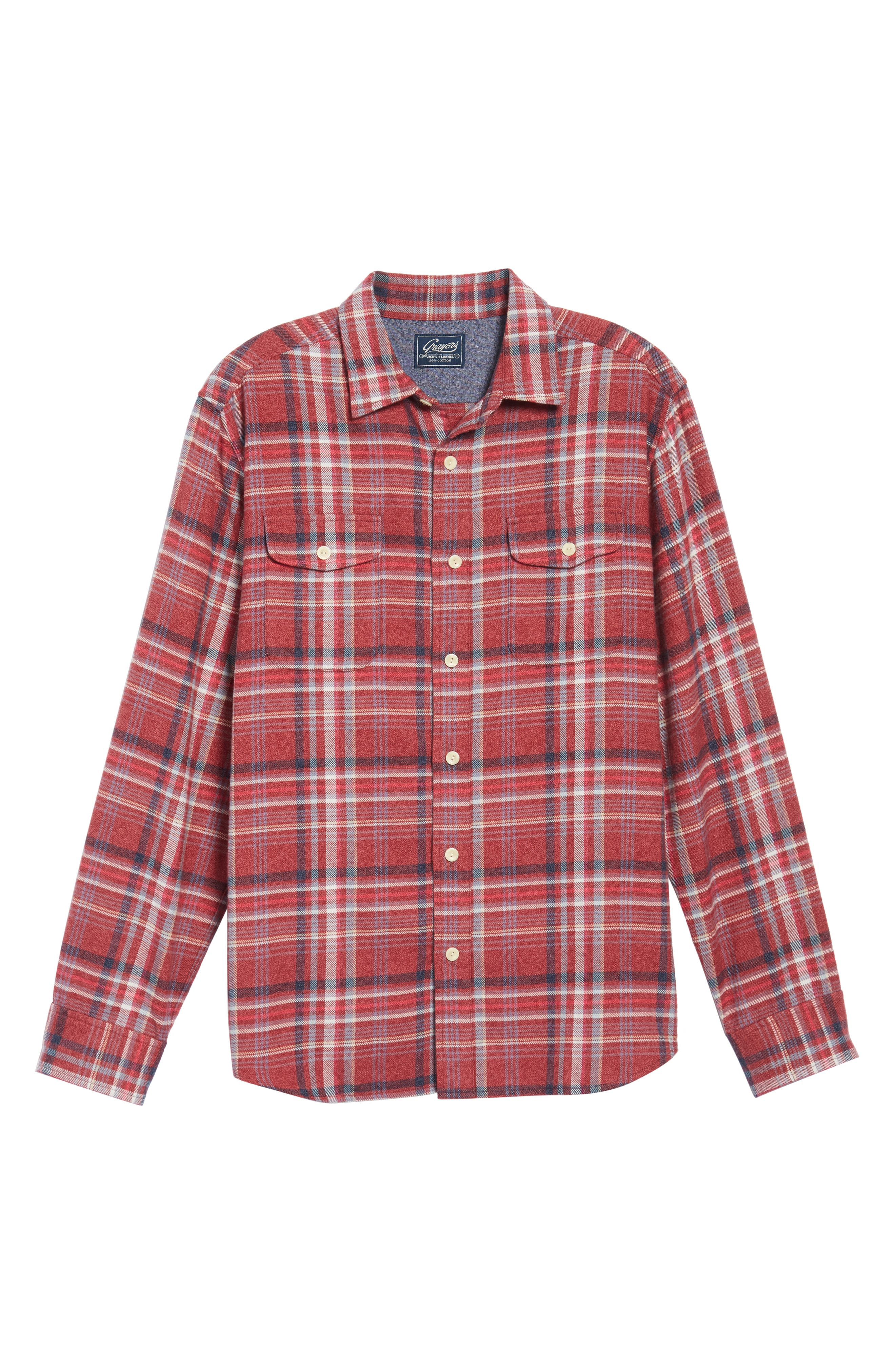 Milbrook Modern Fit Lux Flannel Sport Shirt,                             Alternate thumbnail 6, color,                             Burgundy Plaid