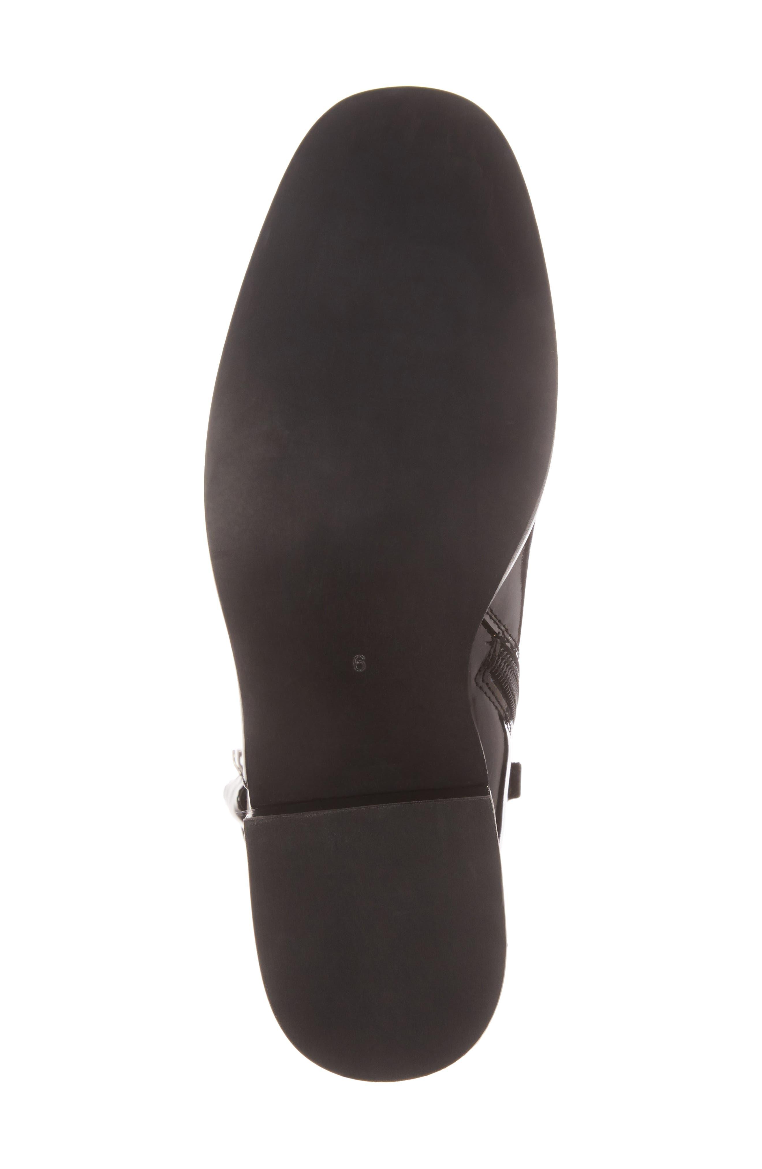 Regan Buckle Strap Bootie,                             Alternate thumbnail 6, color,                             Black Leather