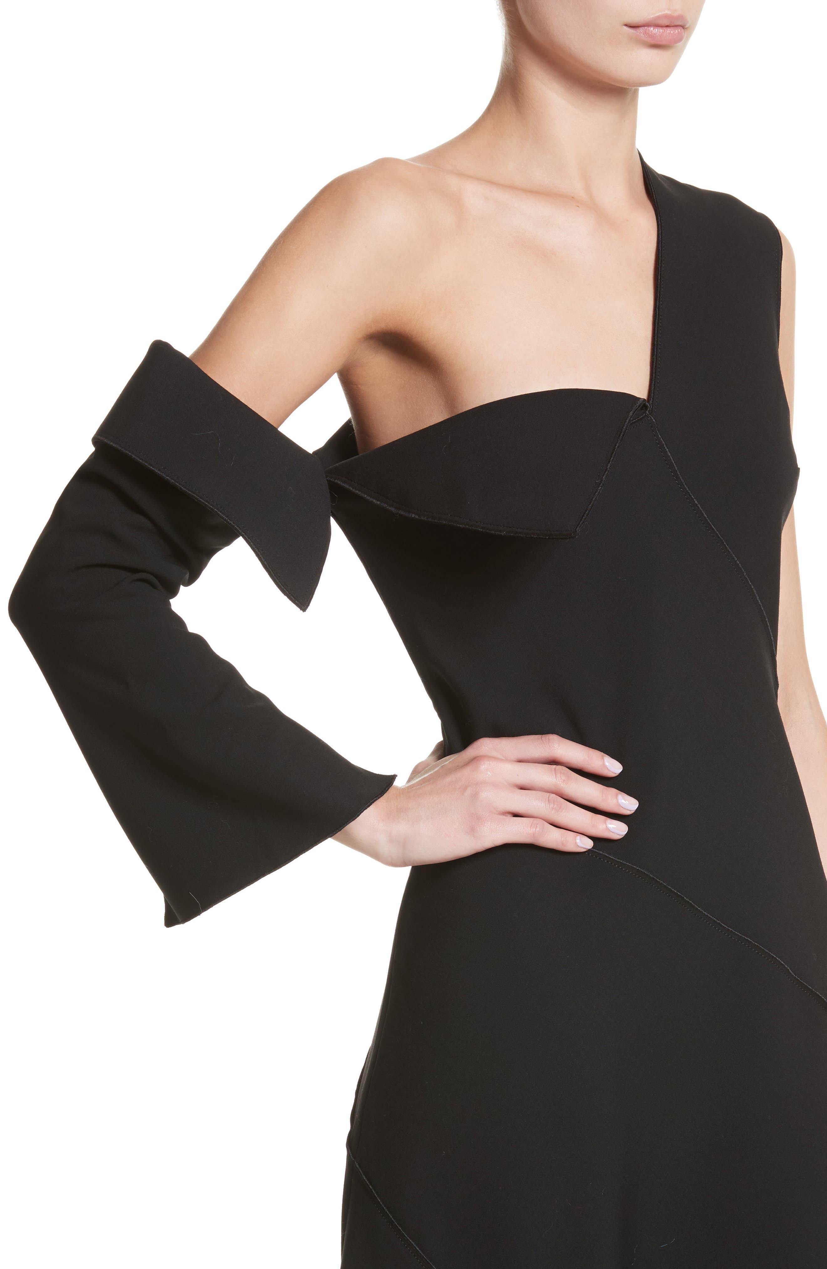 Double-Face Stretch Wool One-Shoulder Dress,                             Alternate thumbnail 4, color,                             Black