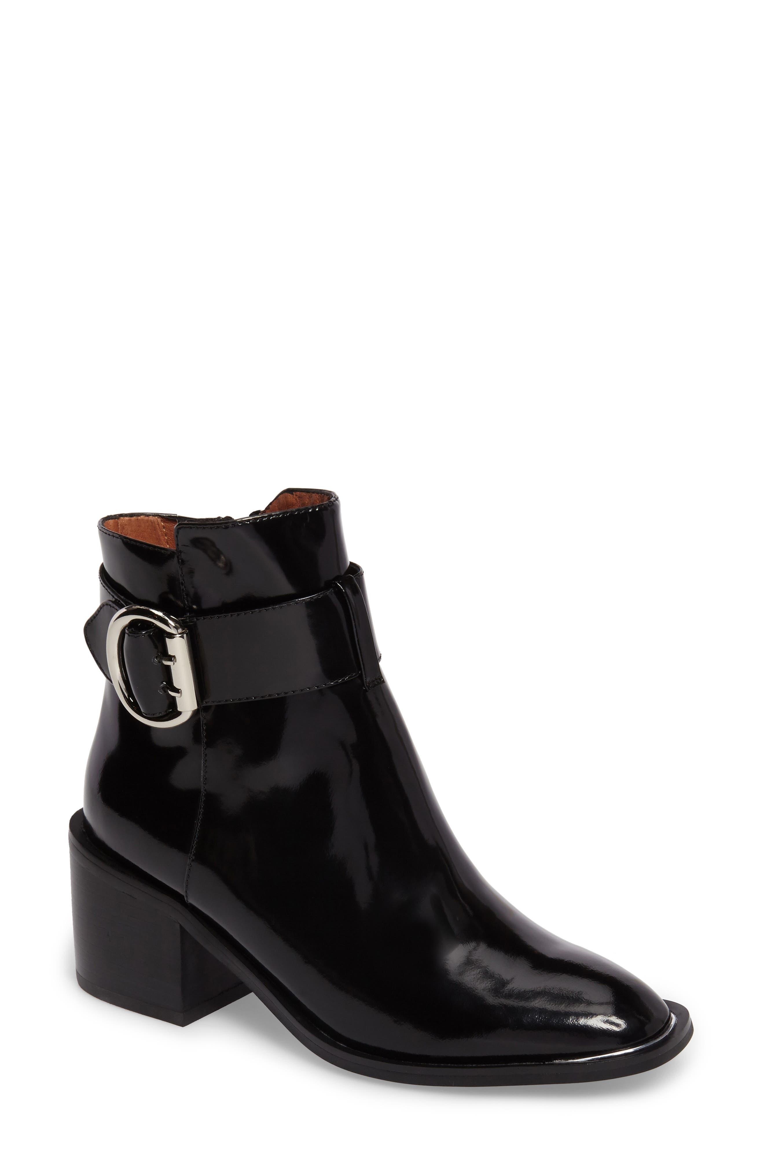 Regan Buckle Strap Bootie,                             Main thumbnail 1, color,                             Black Leather