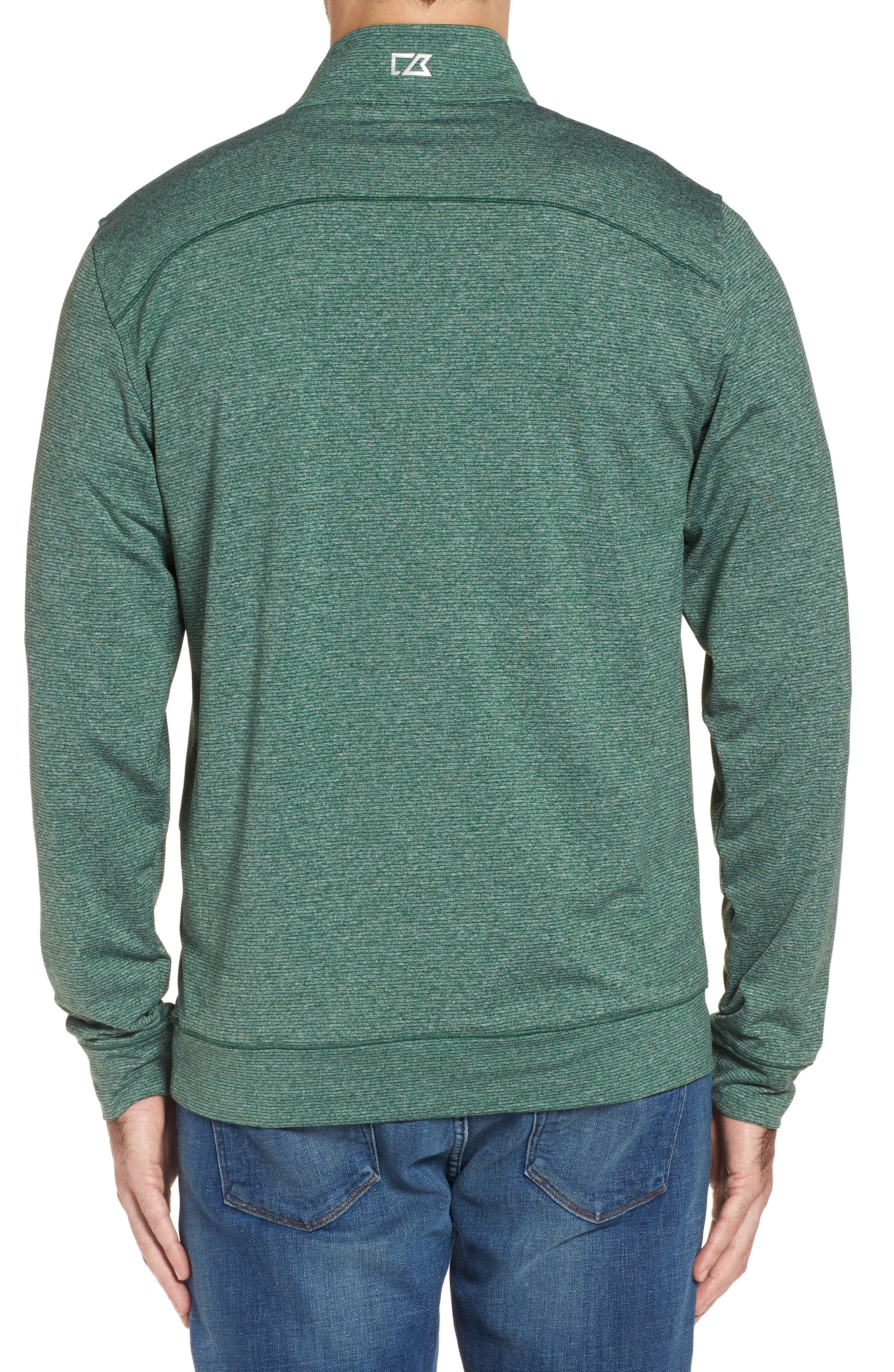Shoreline - Green Bay Packers Half Zip Pullover,                             Alternate thumbnail 2, color,                             Hunter Heather