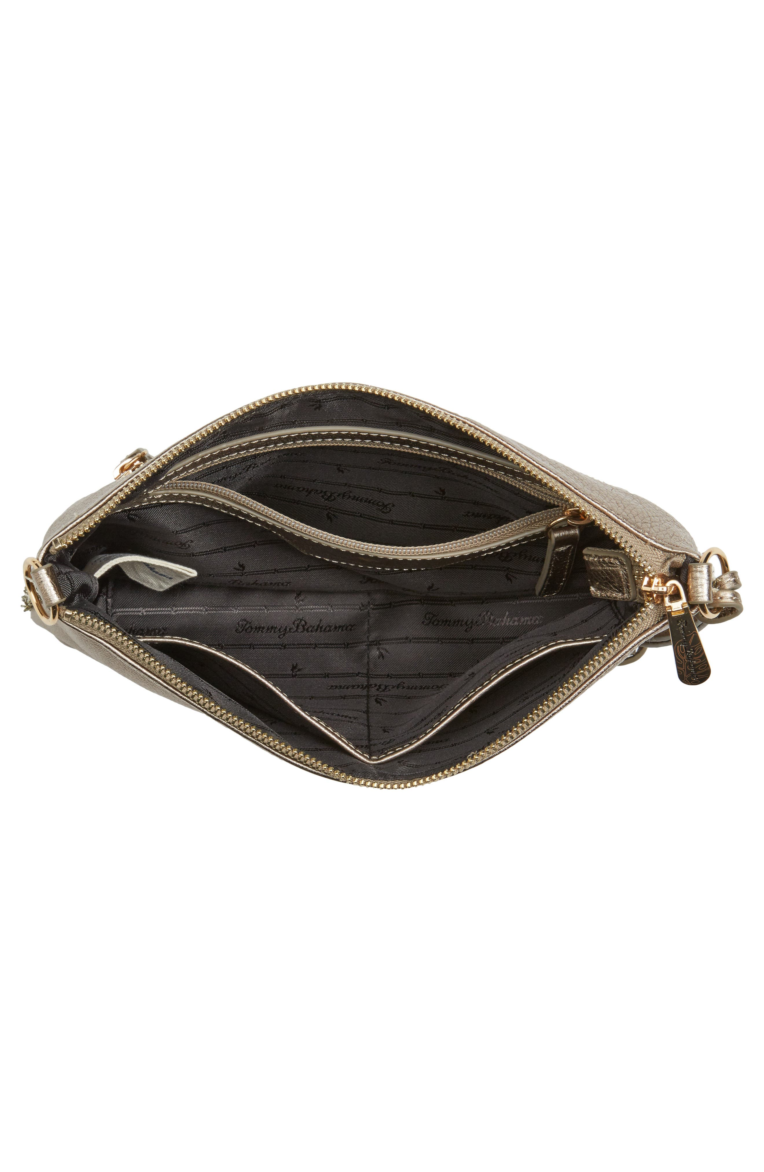 Can Can Convertible Leather Crossbody Bag,                             Alternate thumbnail 3, color,                             Pewter/ Bronze