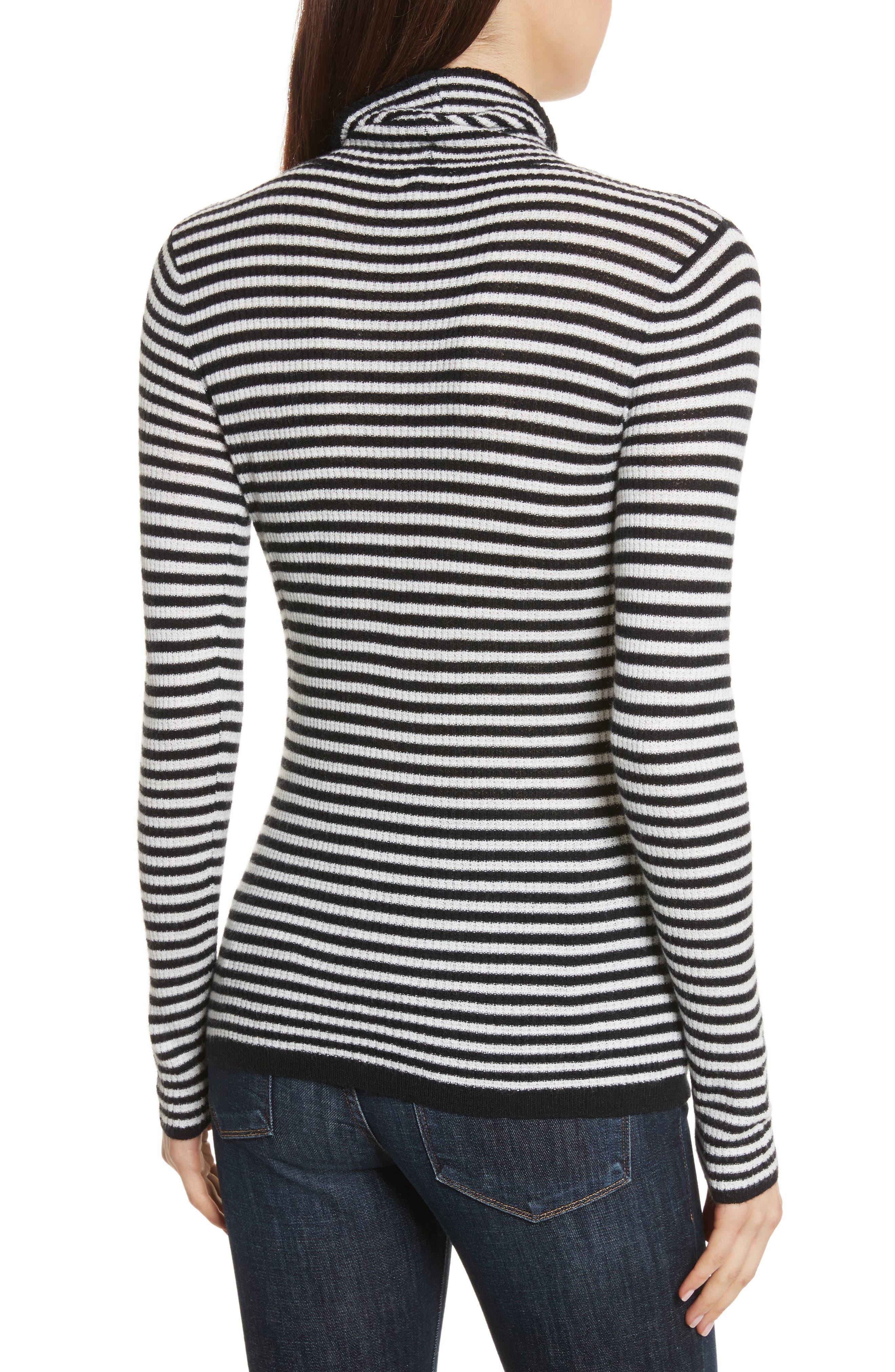 Zelene Stripe Cowl Neck Sweater,                             Alternate thumbnail 2, color,                             Caviar/ Porceclain