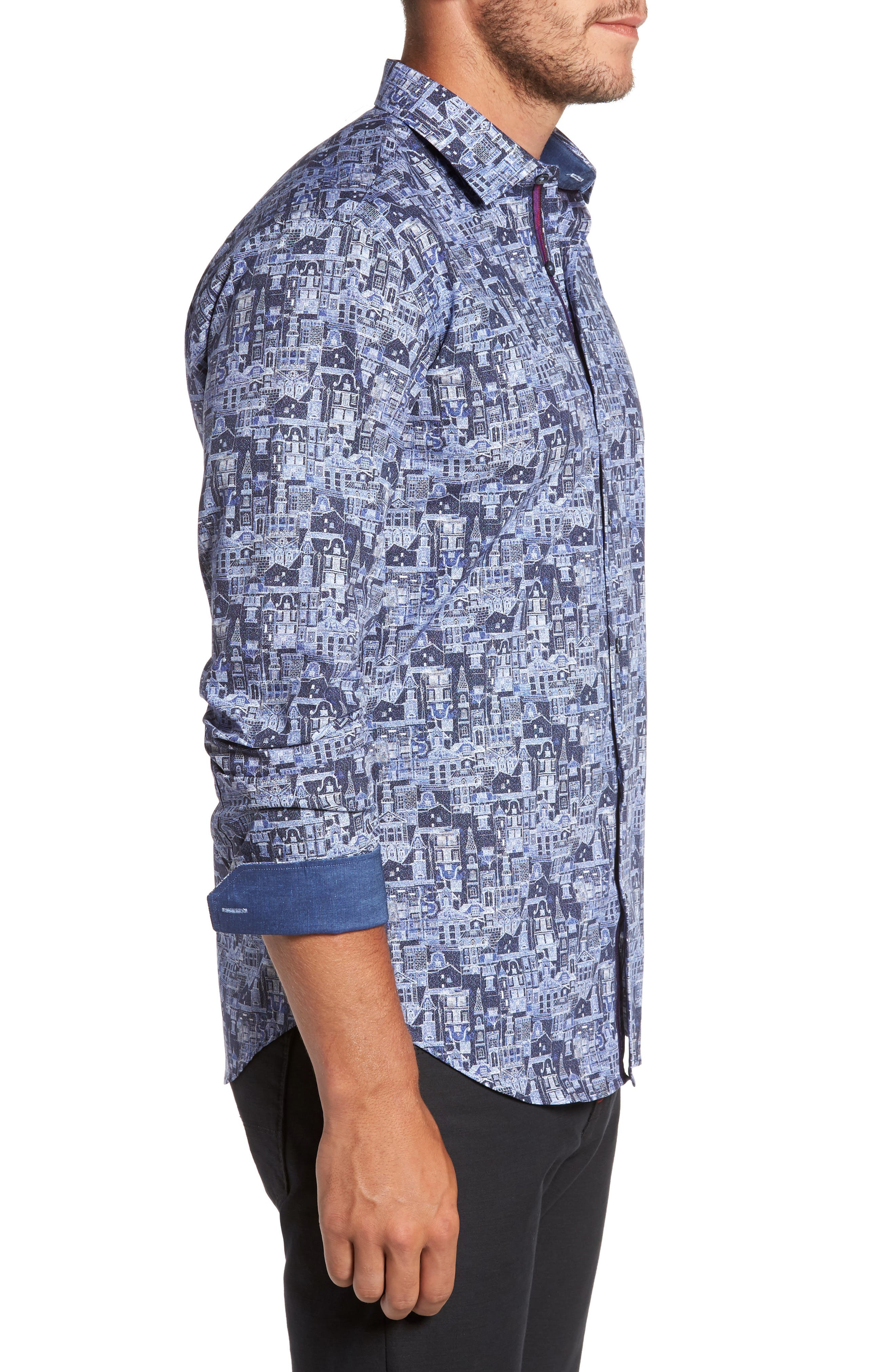 Shaped Fit Print Sport Shirt,                             Alternate thumbnail 3, color,                             Navy