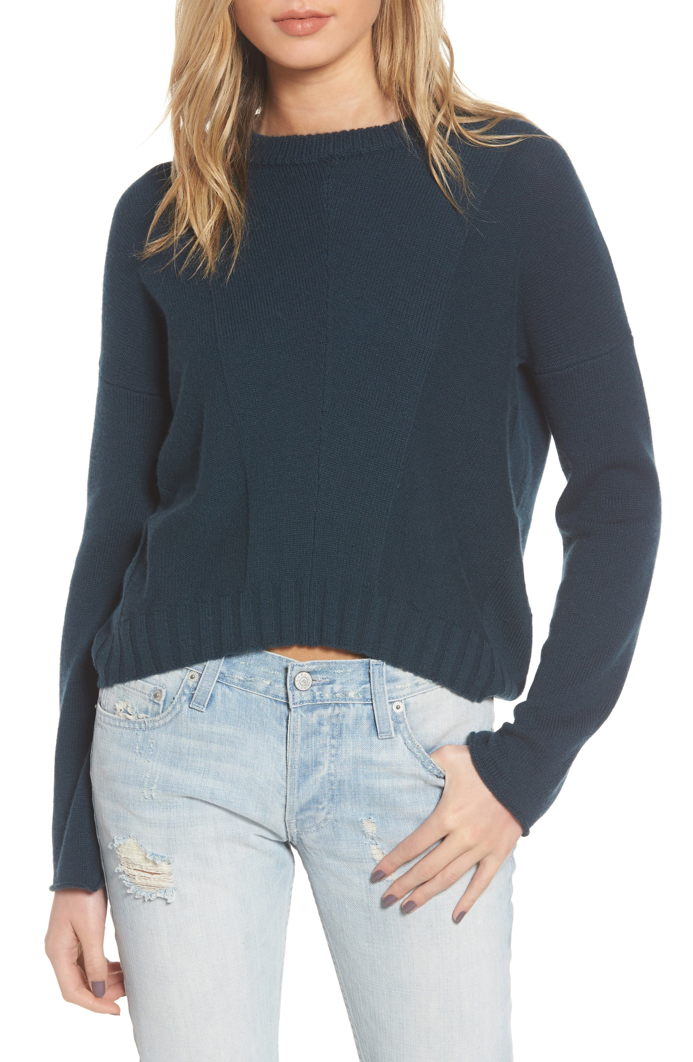 Joanna Wool & Cashmere Sweater,                         Main,                         color, Forest