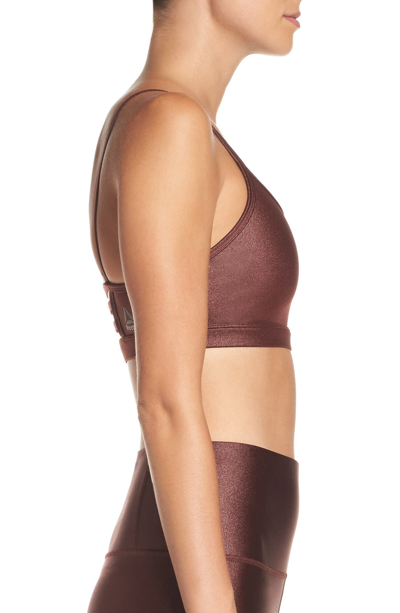 x FACE Hero Rebel Sports Bra,                             Alternate thumbnail 3, color,                             Burnt Sienna