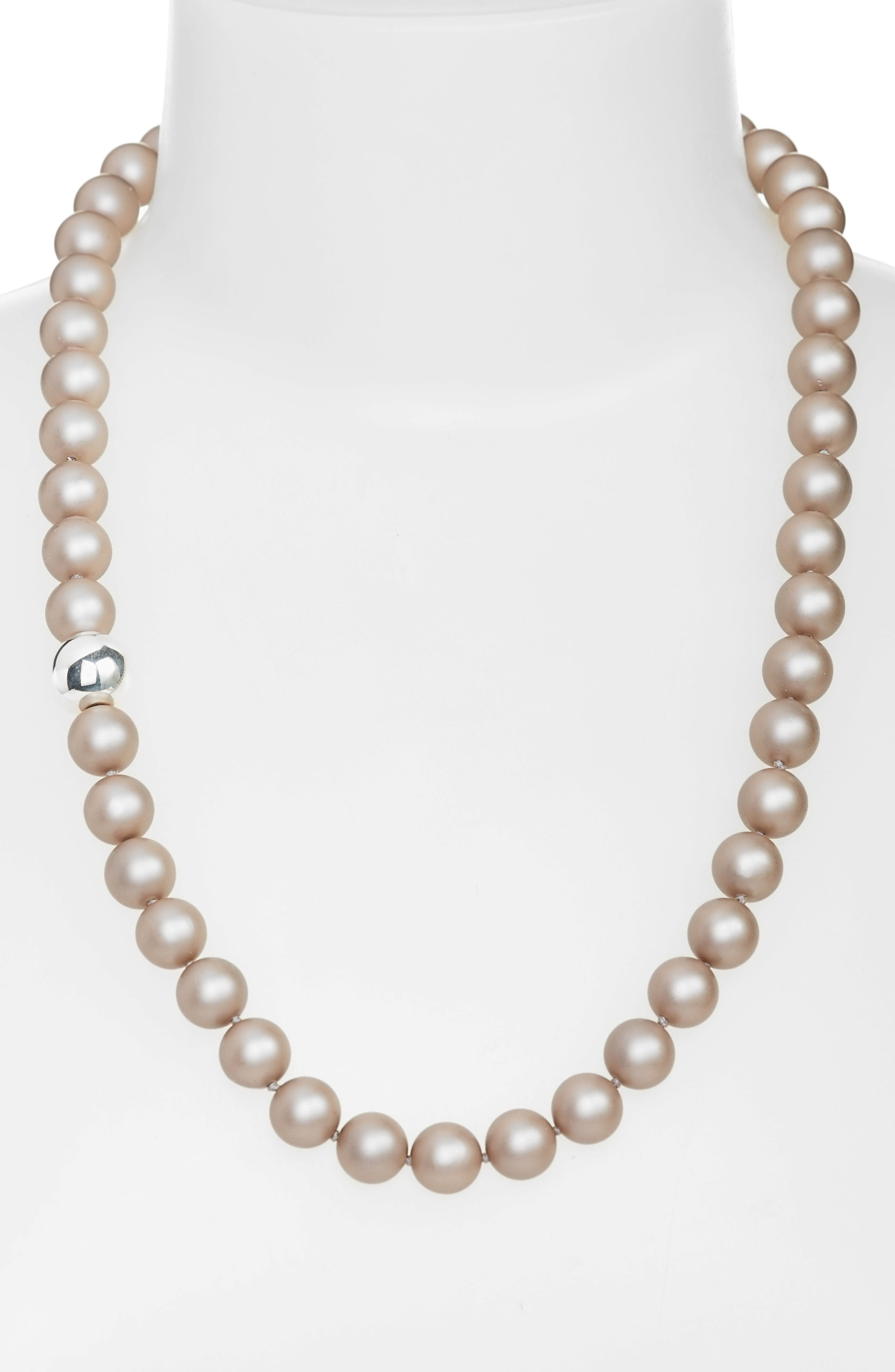 Beaded Necklace,                         Main,                         color, Beige
