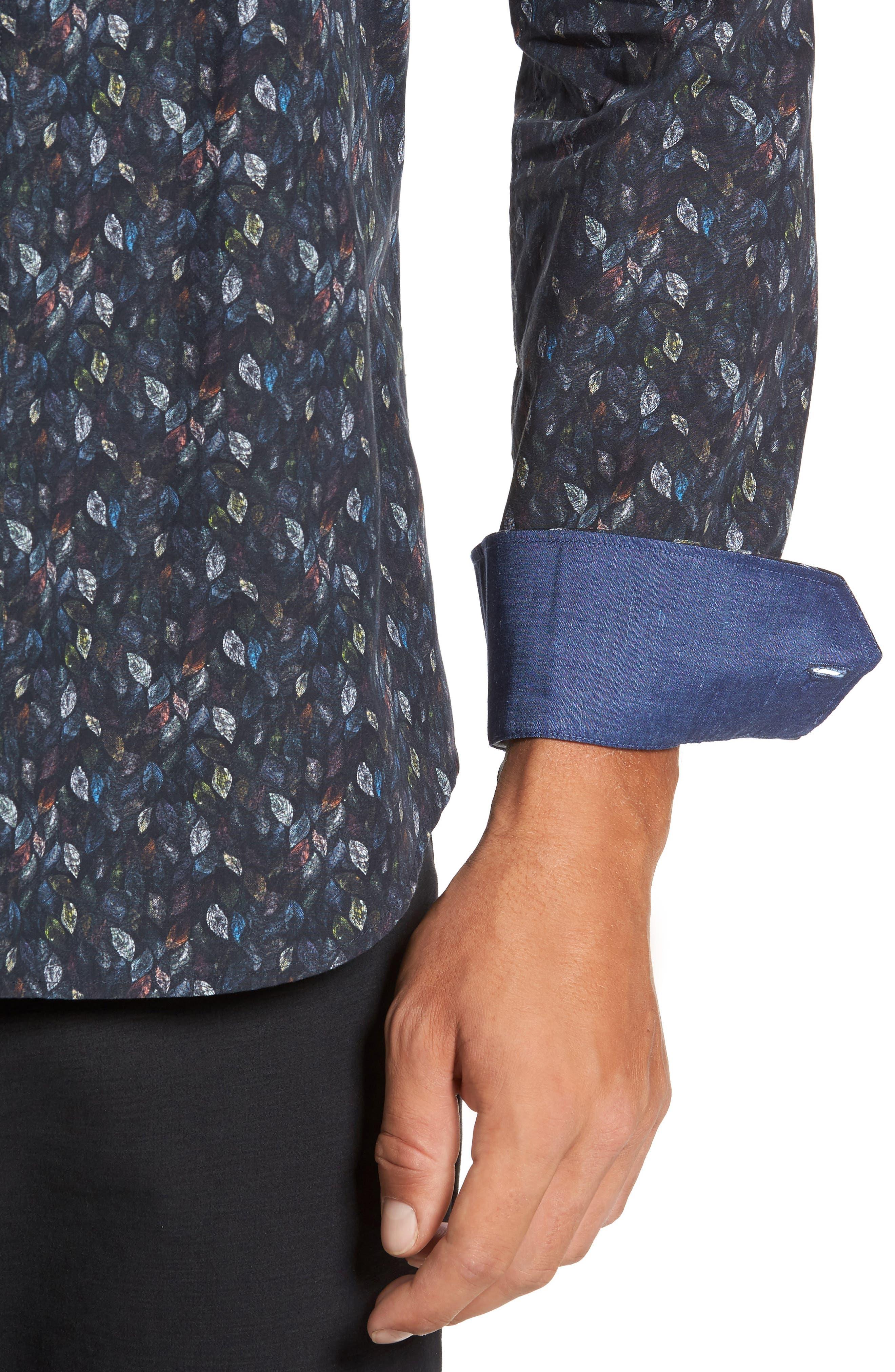 Alternate Image 4  - Bugatchi Trim Fit Leaf Print Sport Shirt