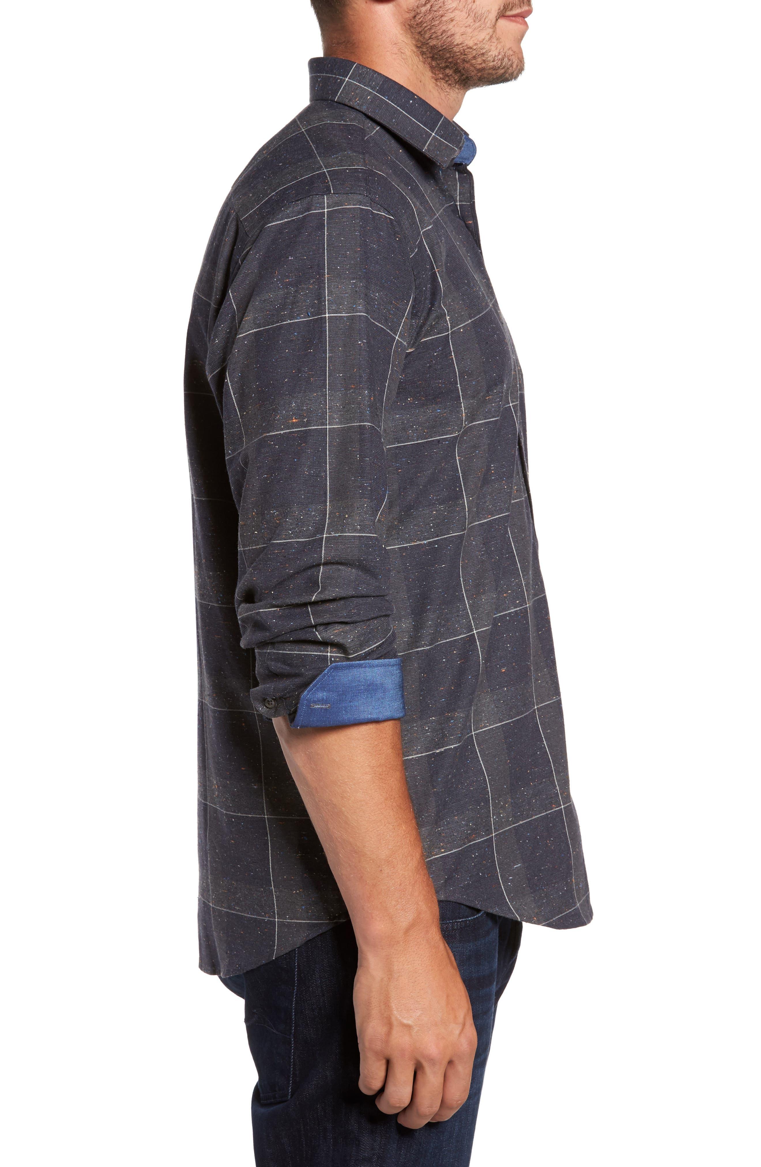 Alternate Image 3  - Bugatchi Classic Fit Slubbed Tattersall Sport Shirt