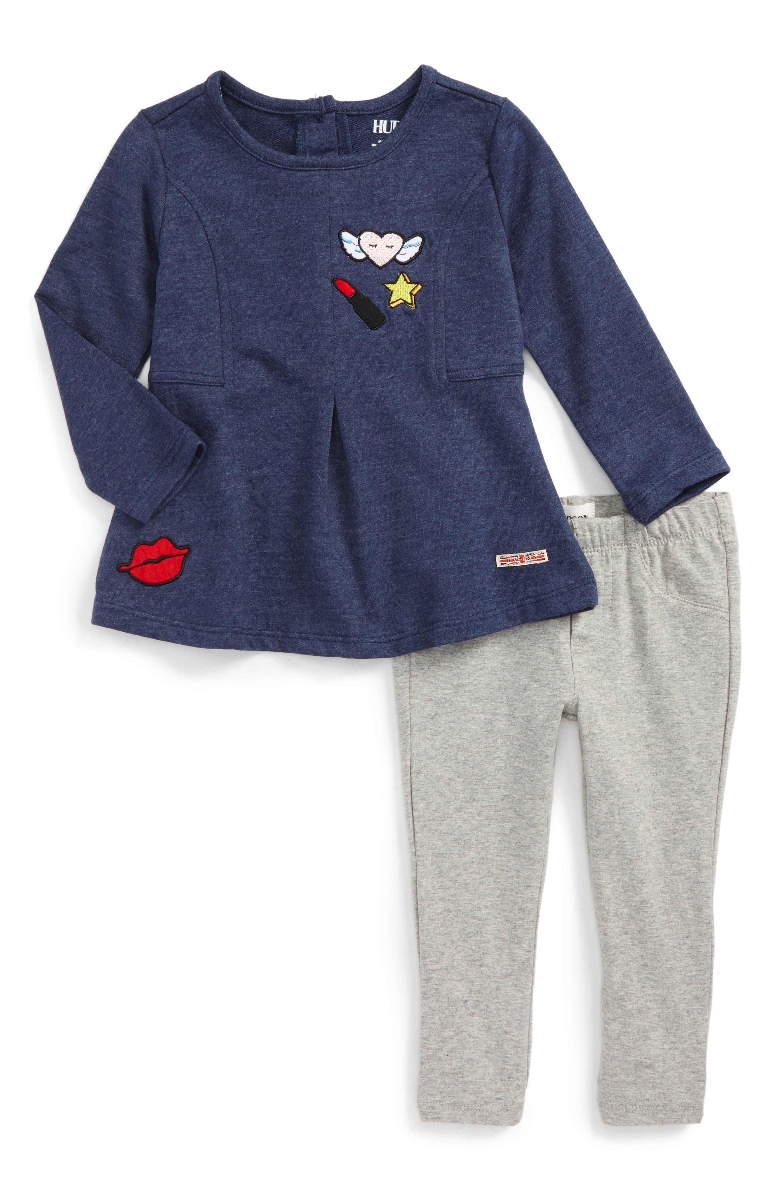 Hudson Appliqué Swing Top & Leggings Set (Toddler Girls)