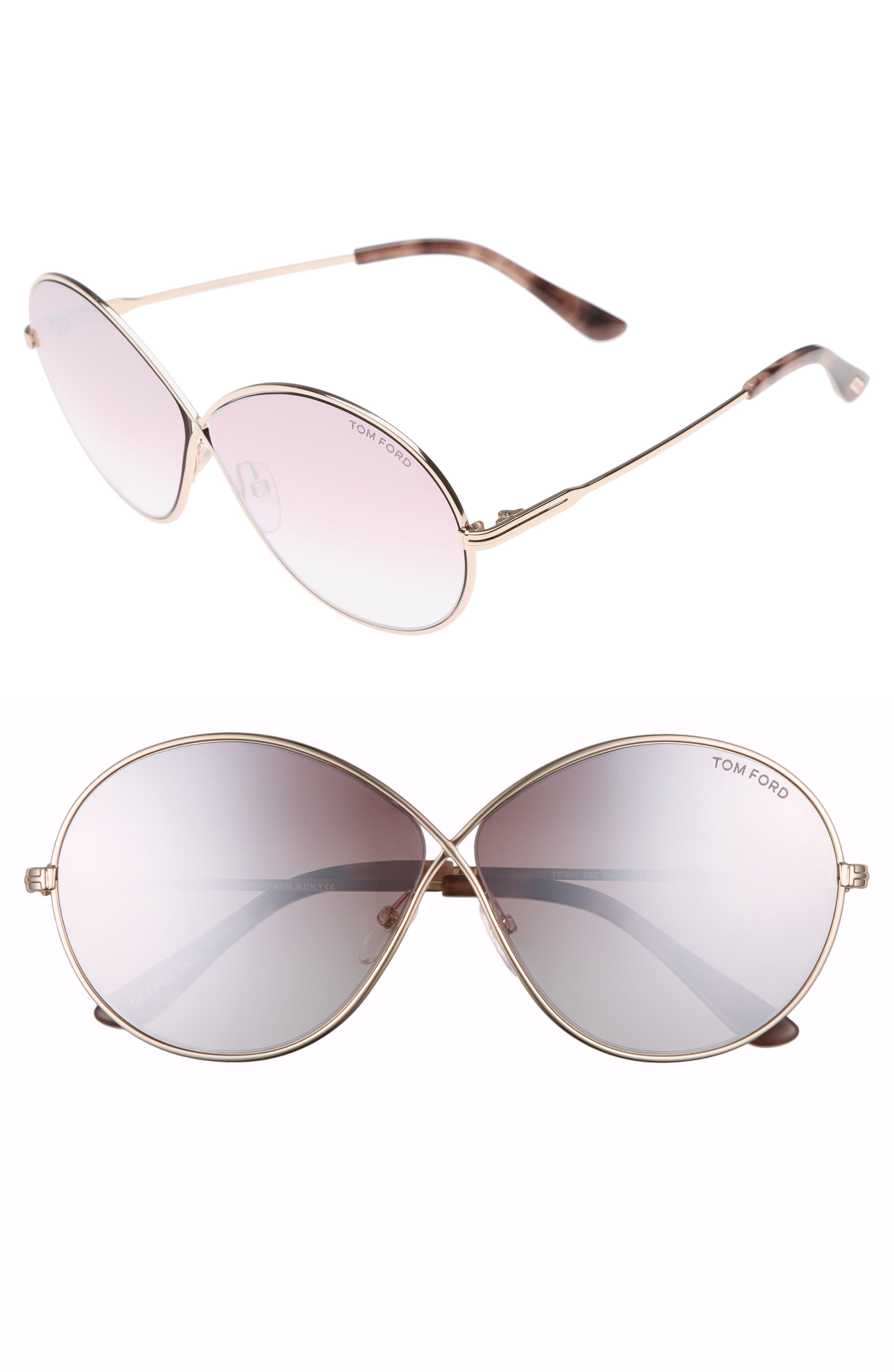 Rania 64mm Oversize Round Sunglasses,                         Main,                         color, Rose Gold/ Gradient Violet