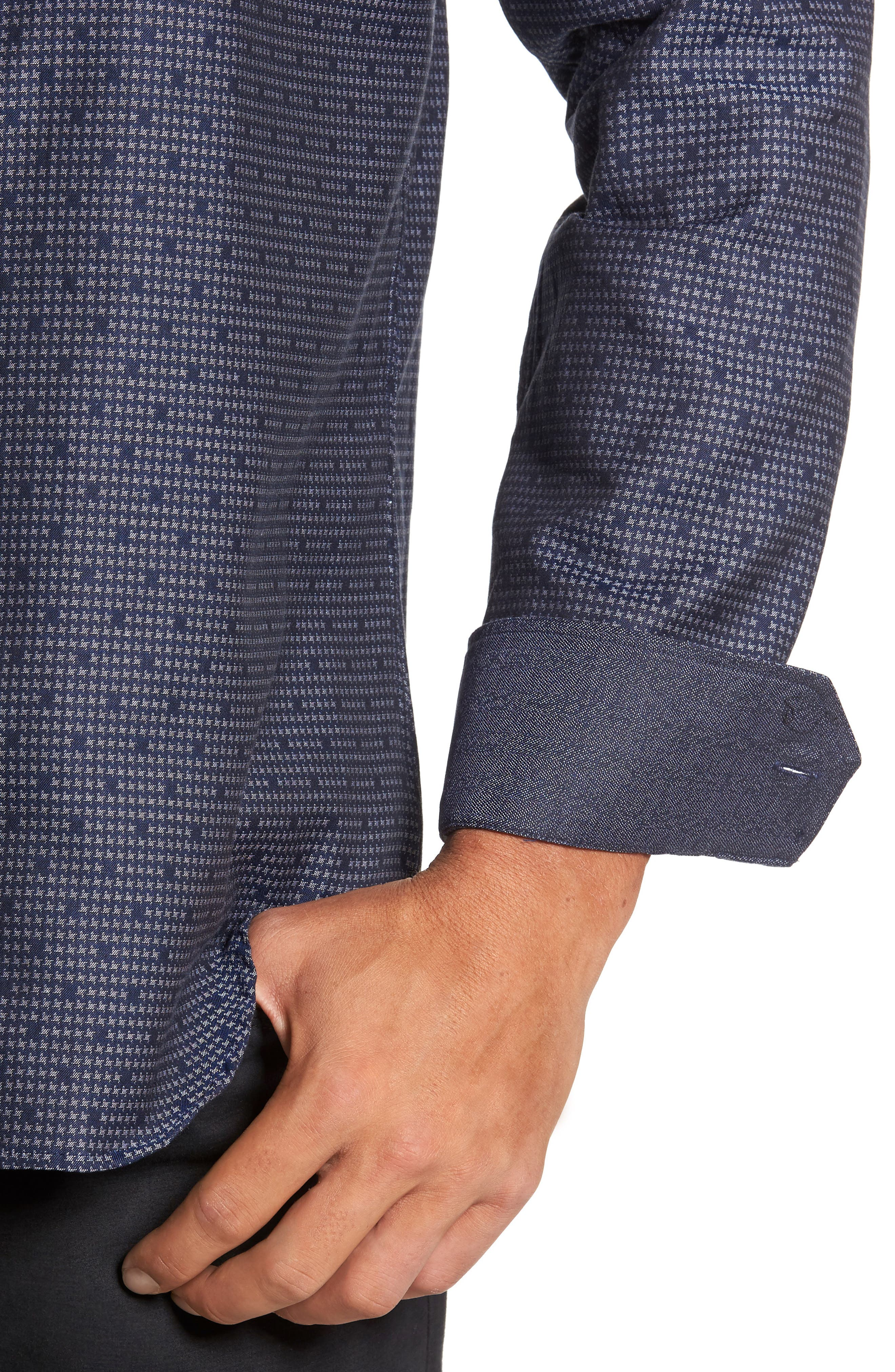 Alternate Image 4  - Bugatchi Trim Fit Dot Houndstooth Sport Shirt
