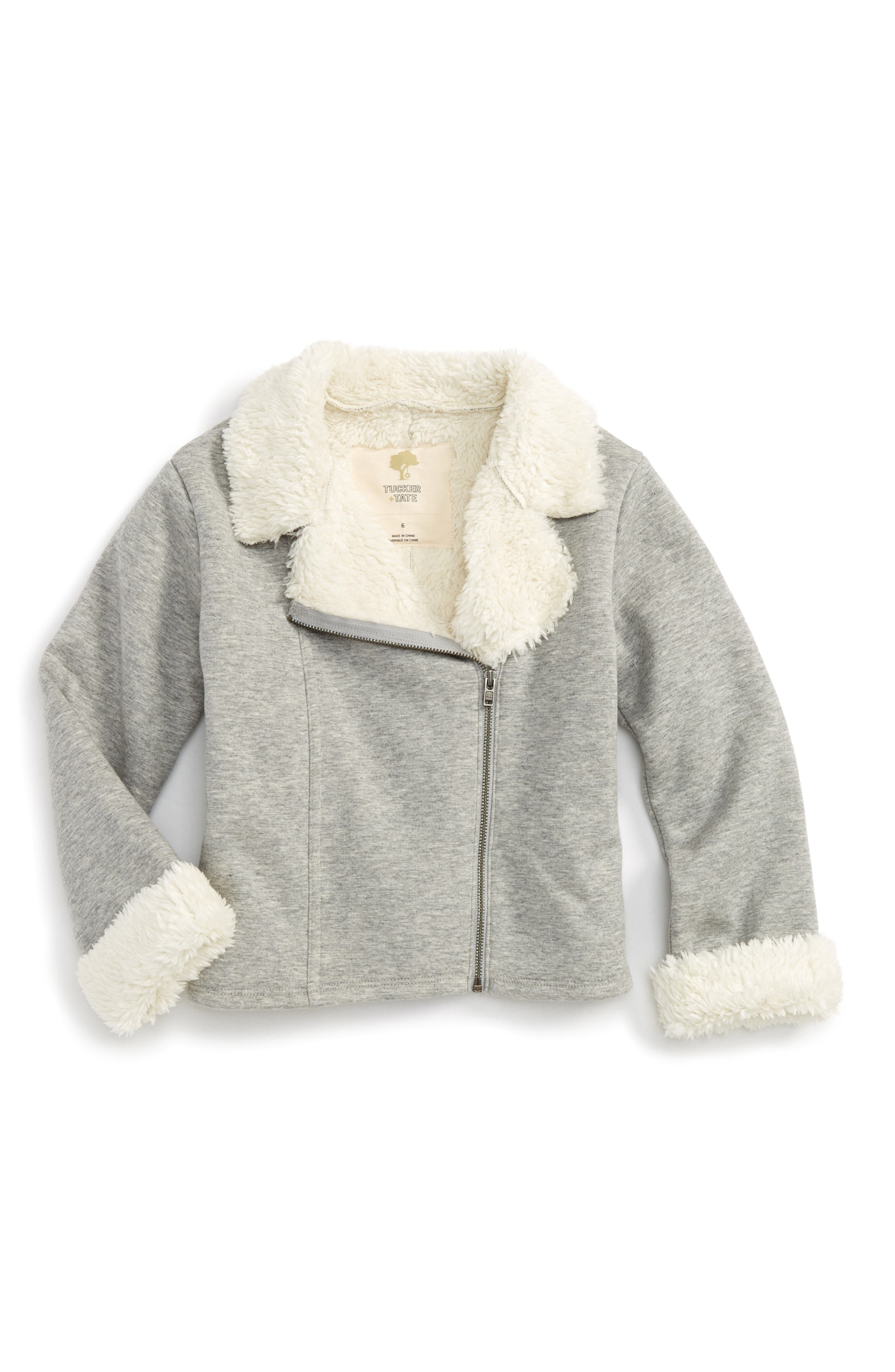 Faux Fur Moto Jacket,                         Main,                         color, Grey Medium Heather