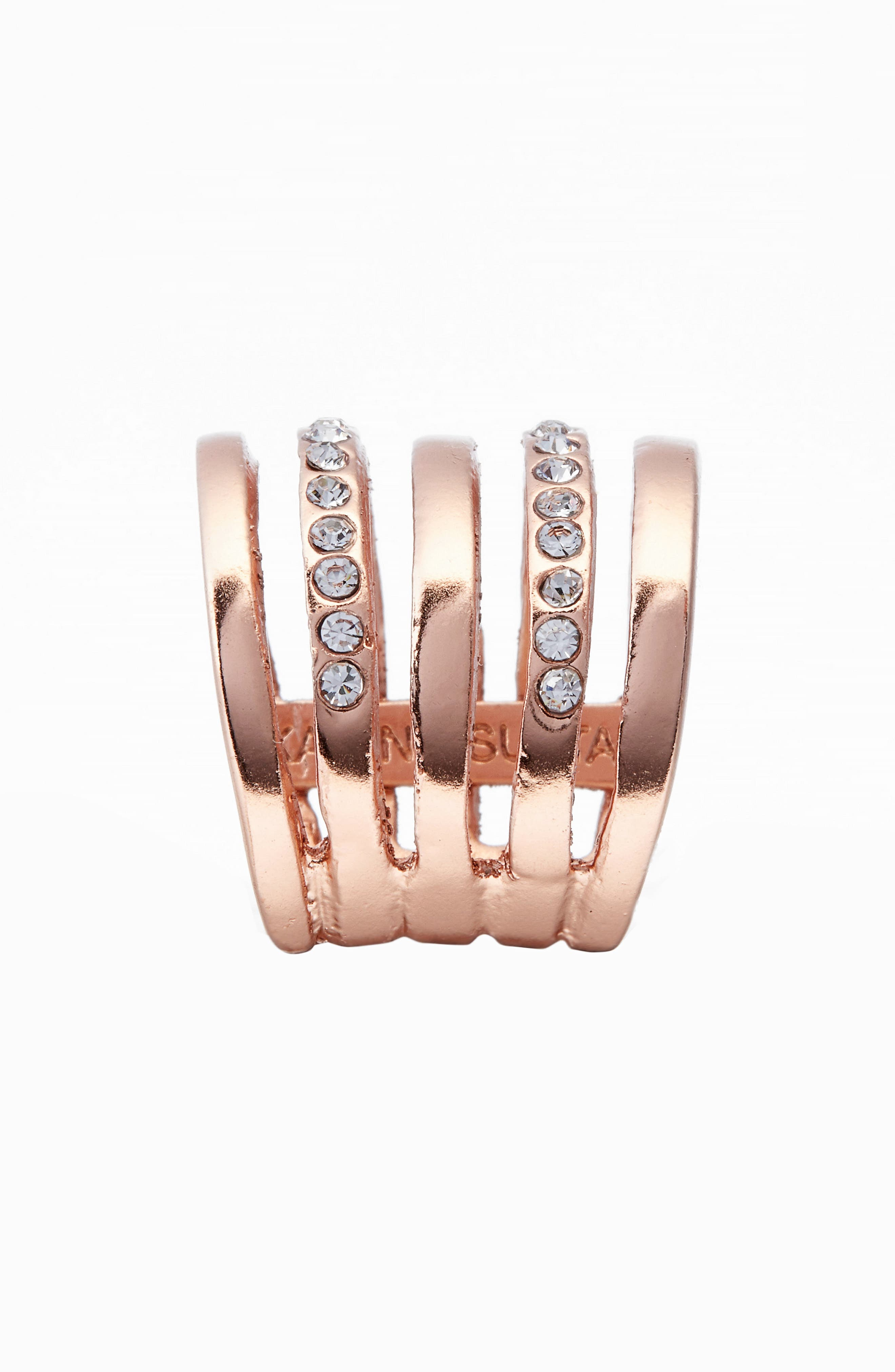 Claire Cage Ring,                             Alternate thumbnail 2, color,                             Rose Gold