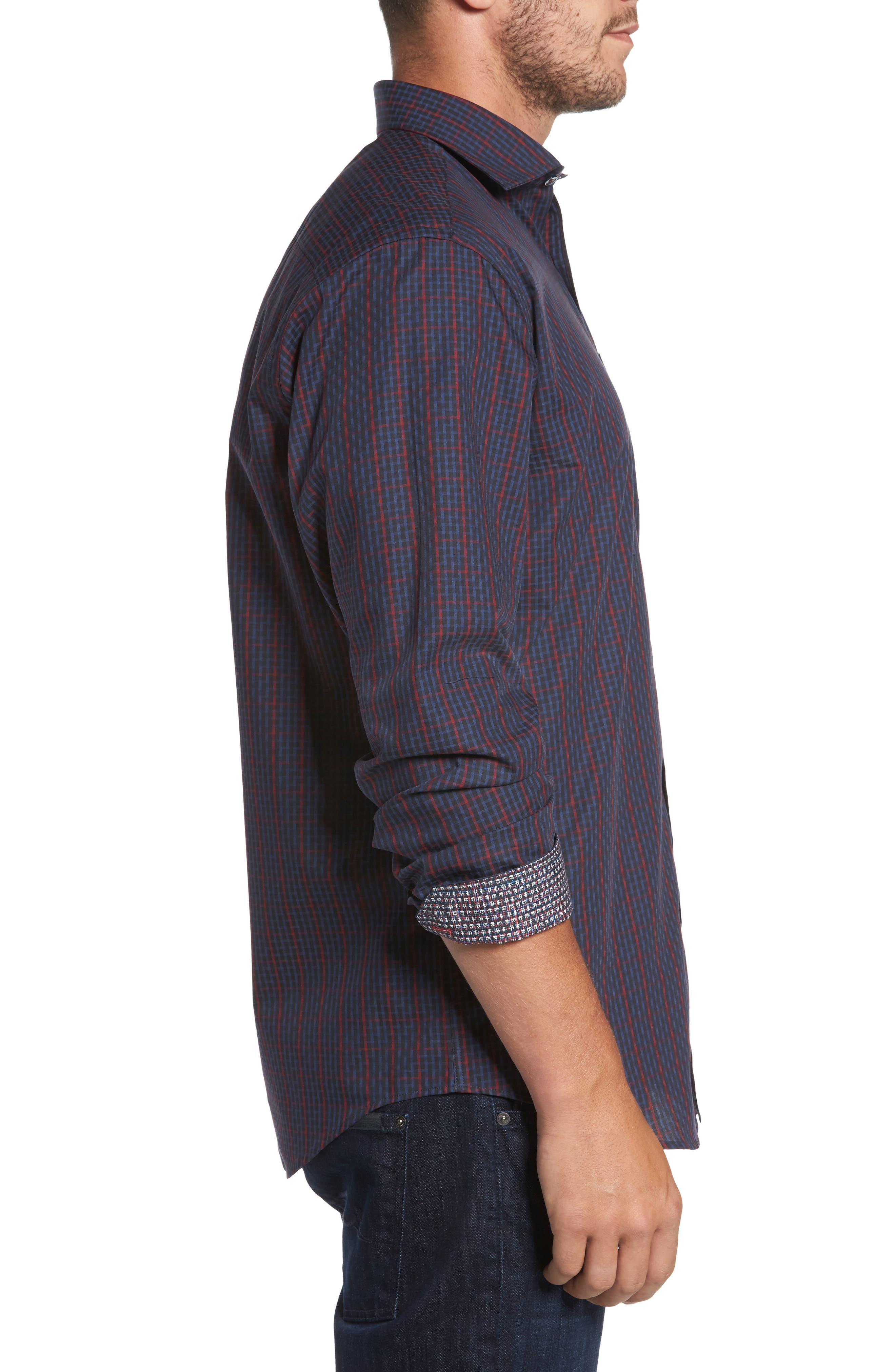 Classic Fit Windowpane Check Sport Shirt,                             Alternate thumbnail 3, color,                             Midnight