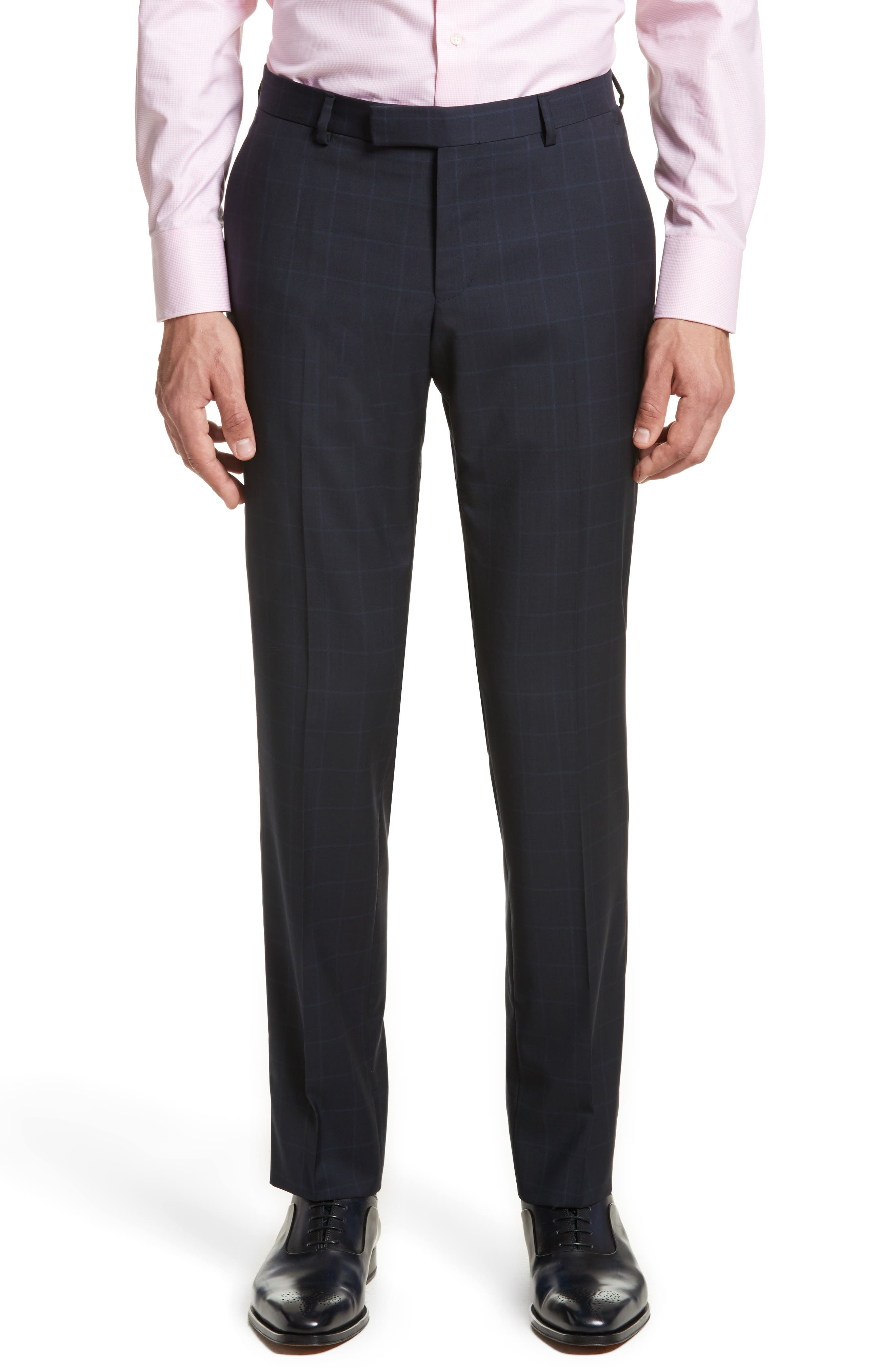 Classic Fit Windowpane Wool Suit,                             Alternate thumbnail 5, color,                             Navy Check