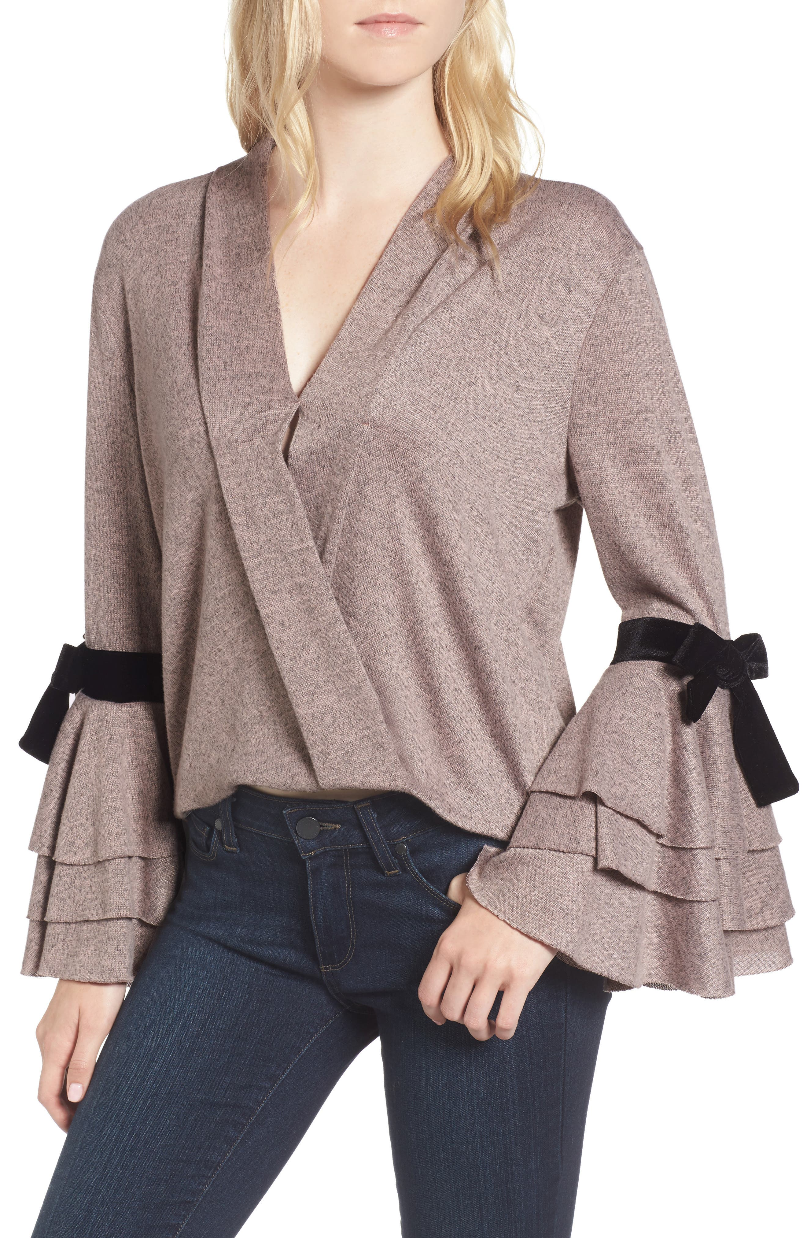 Milena Tie Bell Sleeve Sweater,                         Main,                         color, Orchid
