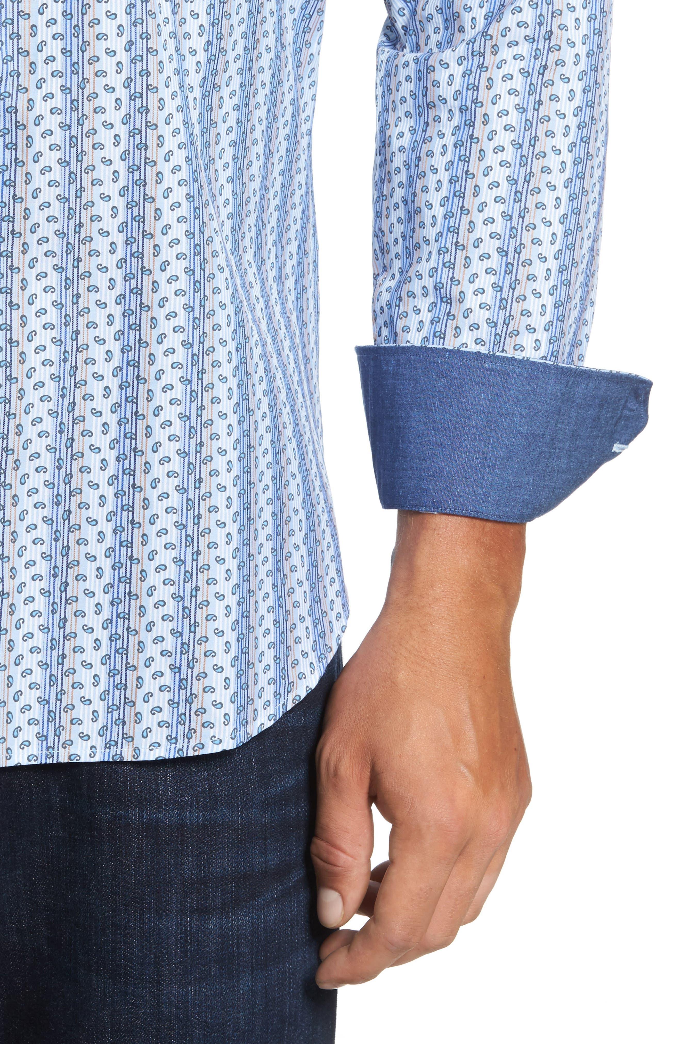 Classic Fit Paisley Striped Sport Shirt,                             Alternate thumbnail 4, color,                             Classic Blue