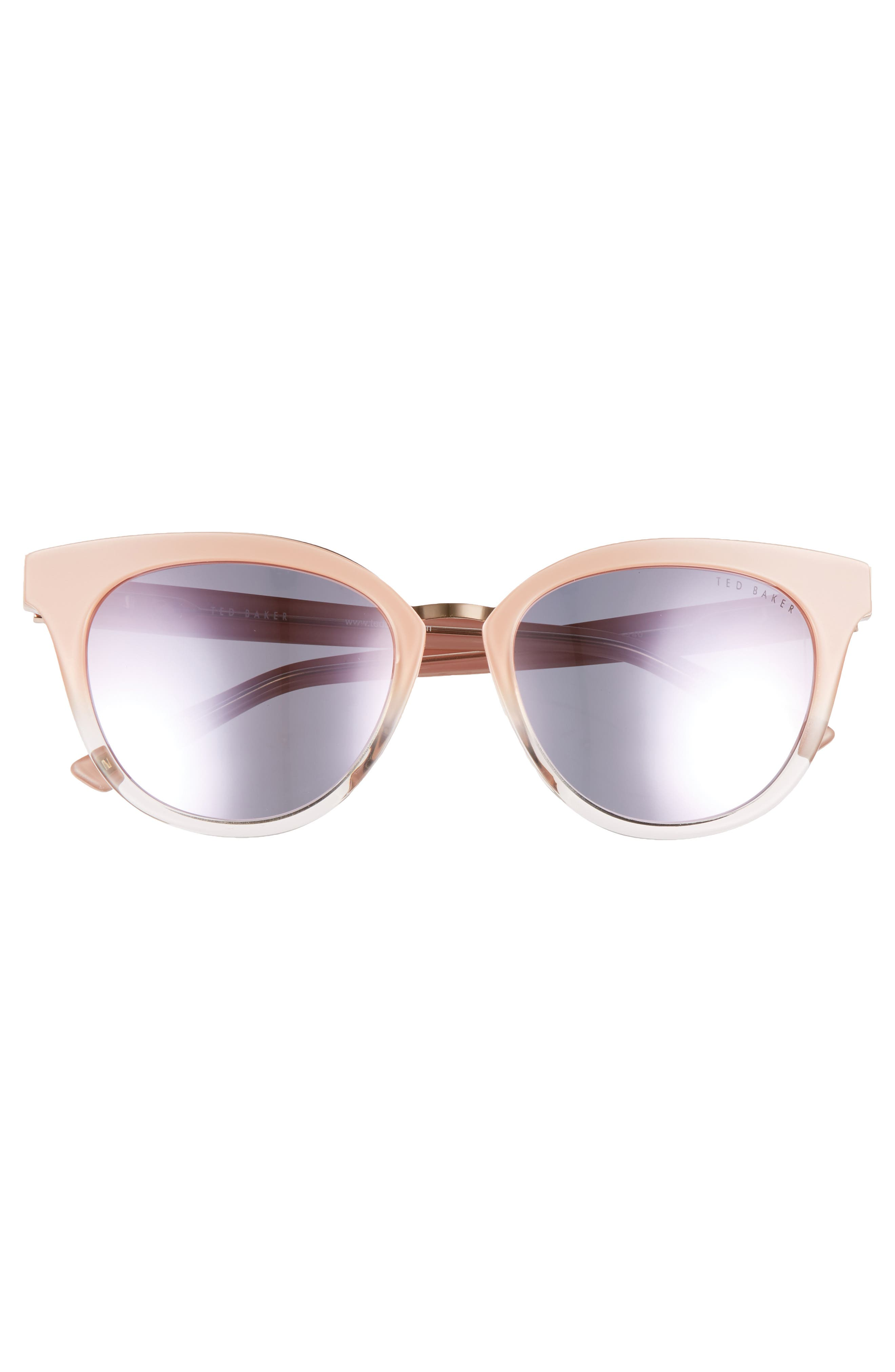 53mm Cat Eye Sunglasses,                             Alternate thumbnail 3, color,                             Blush