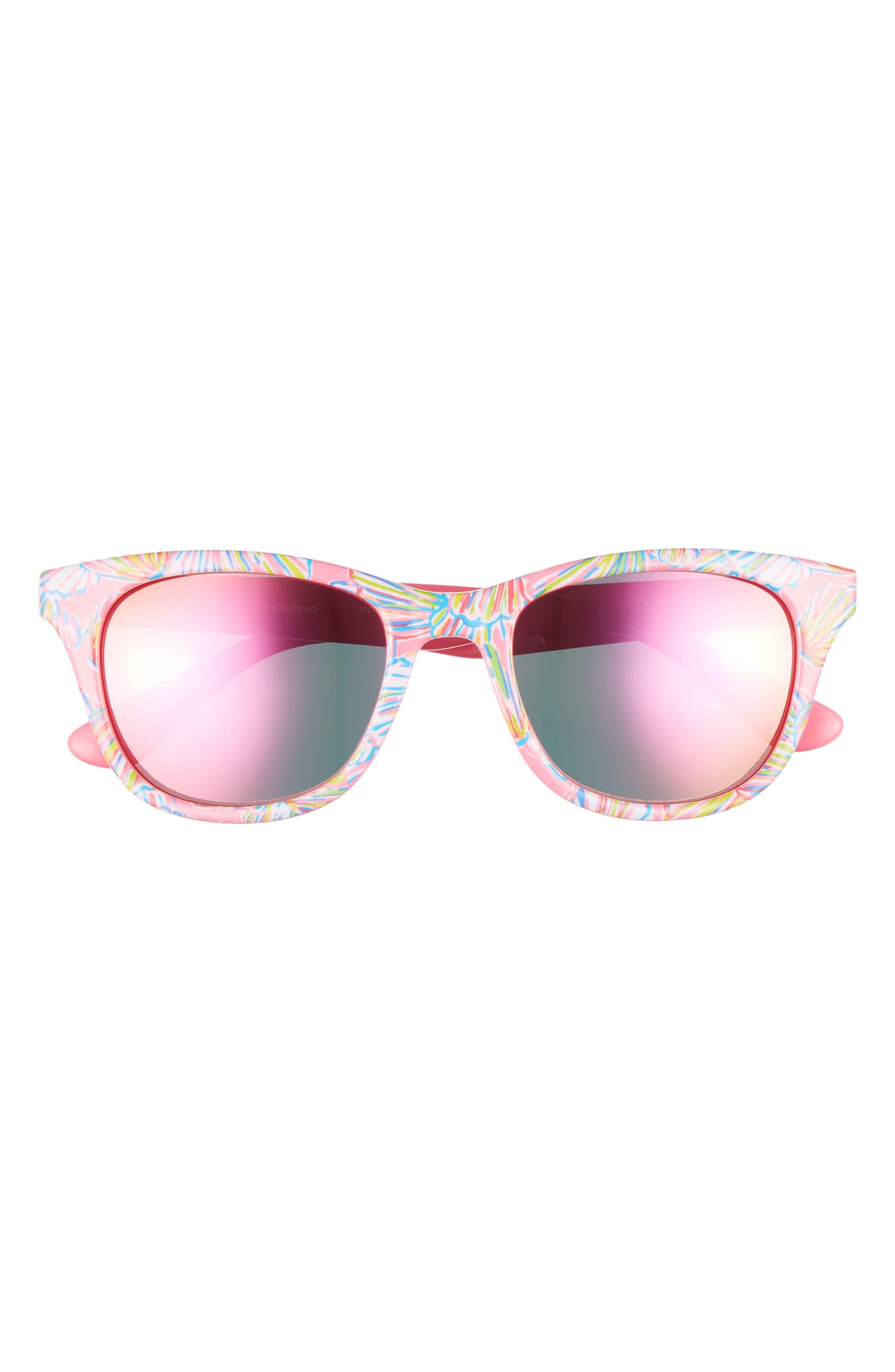 Lilly Pulitzer® Maddie 52mm Polarized Mirrored Sunglasses