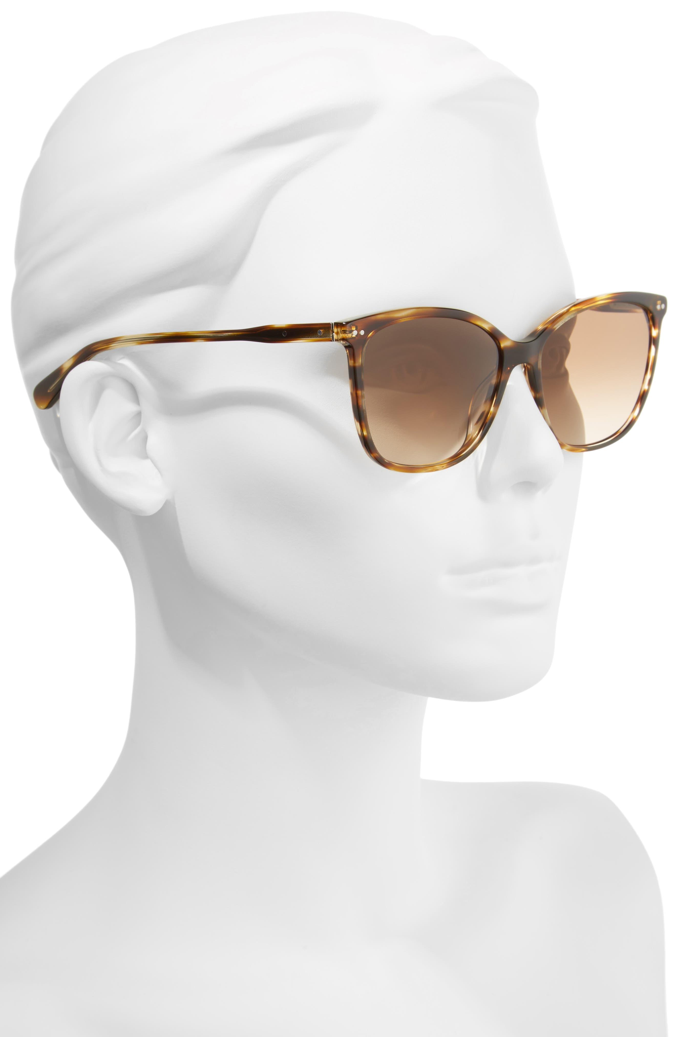 The Lara 56mm Cat Eye Sunglasses,                             Alternate thumbnail 2, color,                             Brown