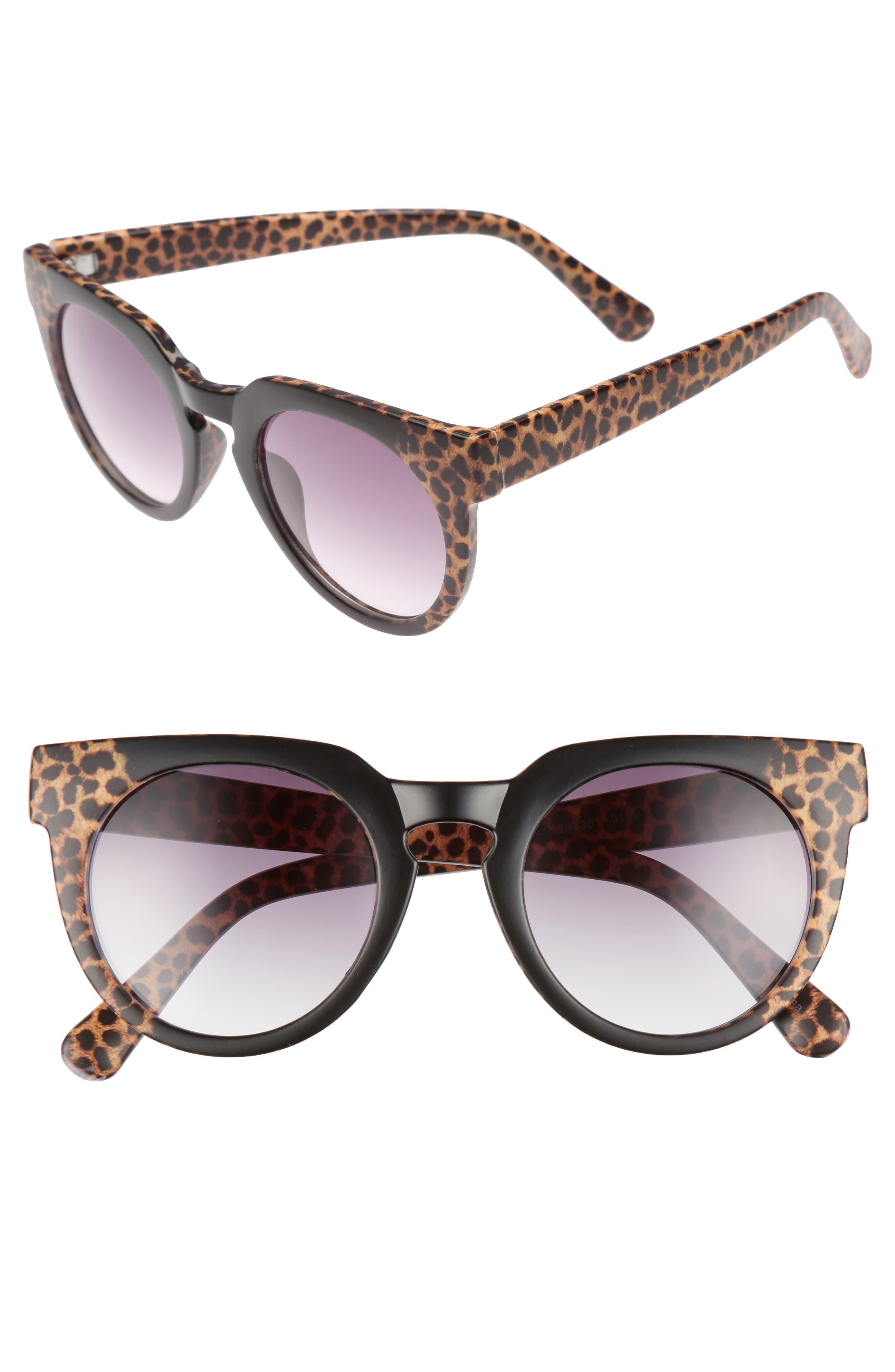 47mm Animal Print Round Sunglasses,                         Main,                         color, Black