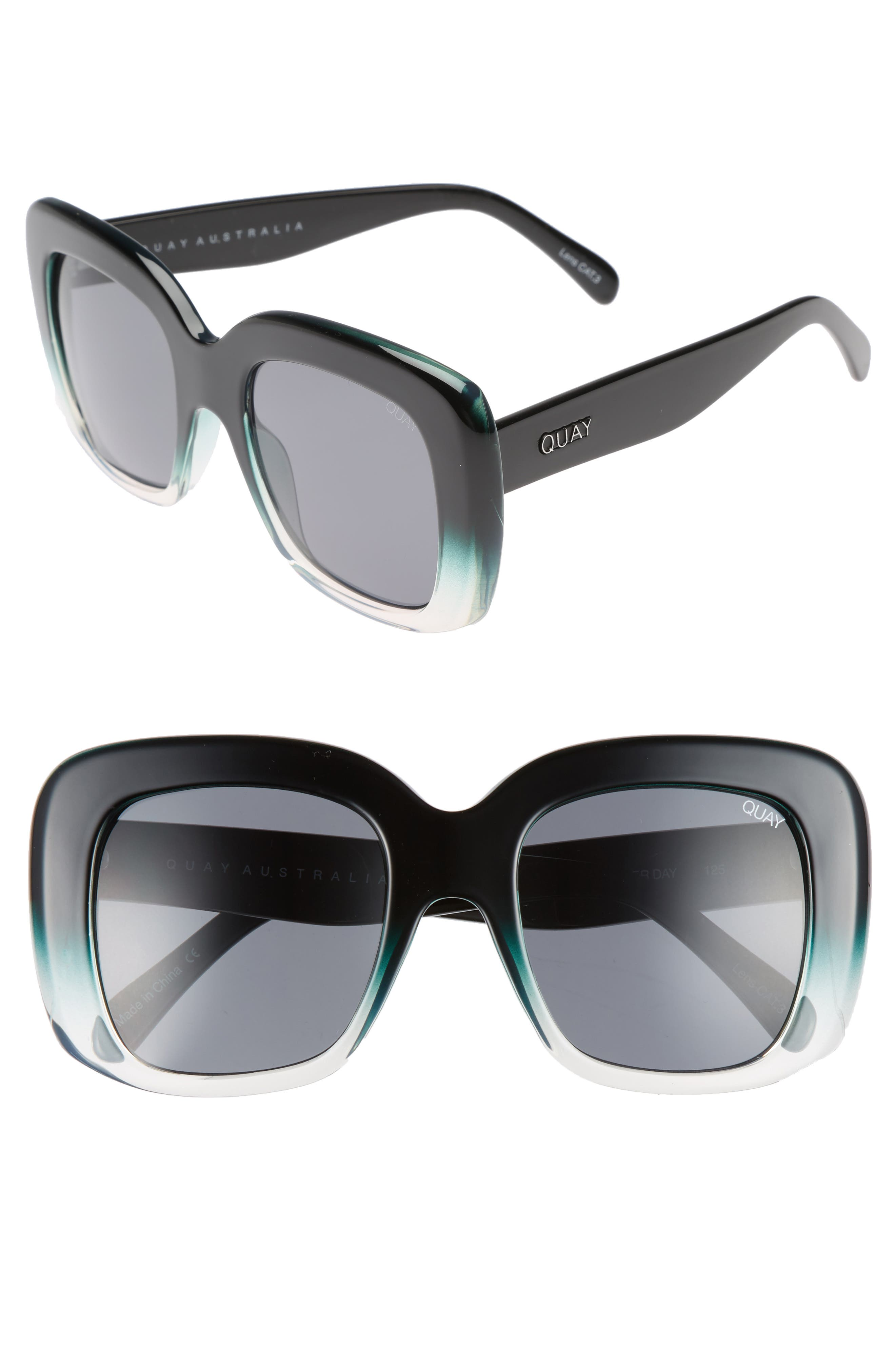 Day After Day 53mm Square Sunglasses,                             Main thumbnail 1, color,                             Black/ Green Smoke